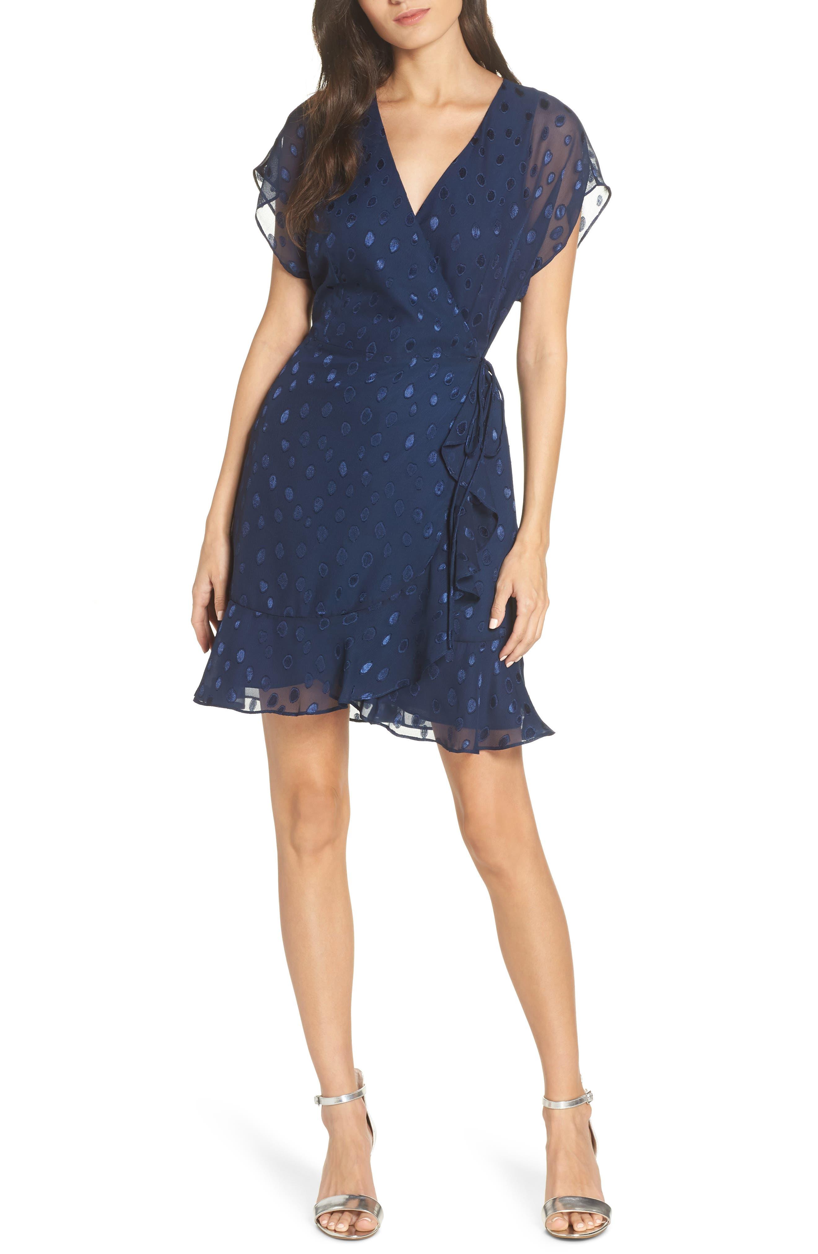 Charles Henry Wrap Chiffon Jacquard Minidress, Blue