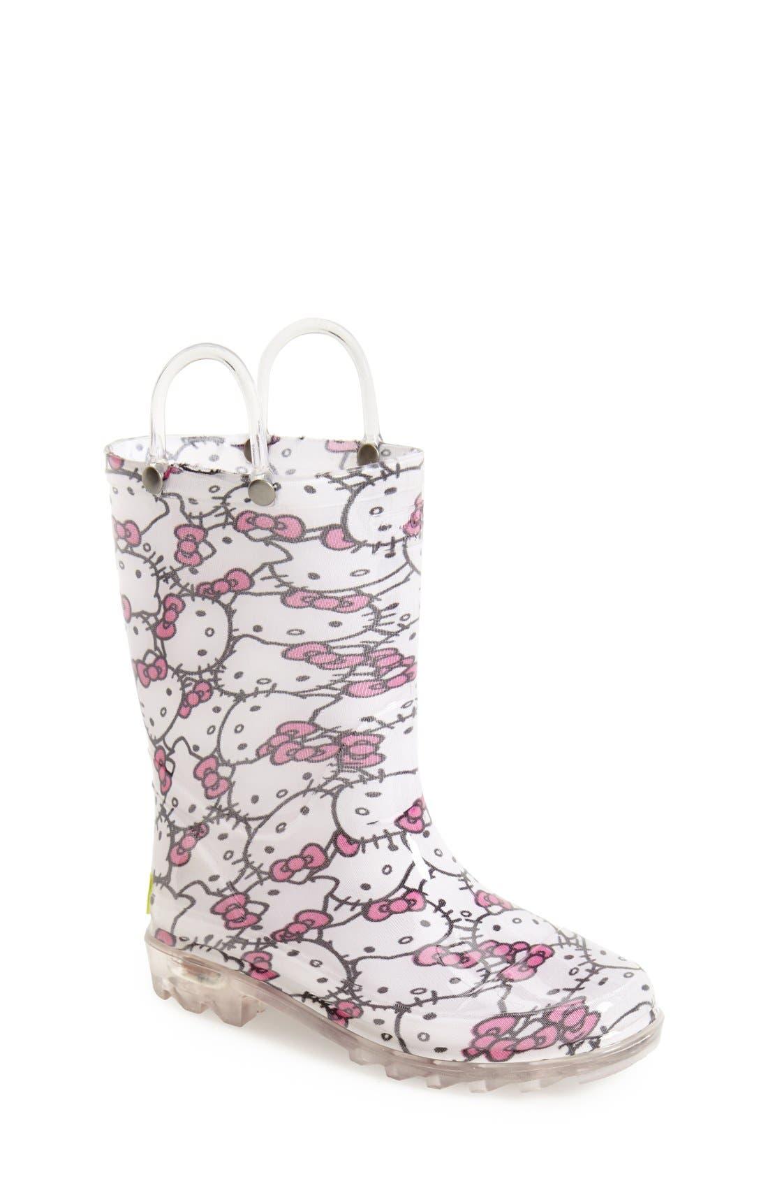 'Hello Kitty<sup>®</sup>' Light Up Rain Boot,                             Main thumbnail 1, color,