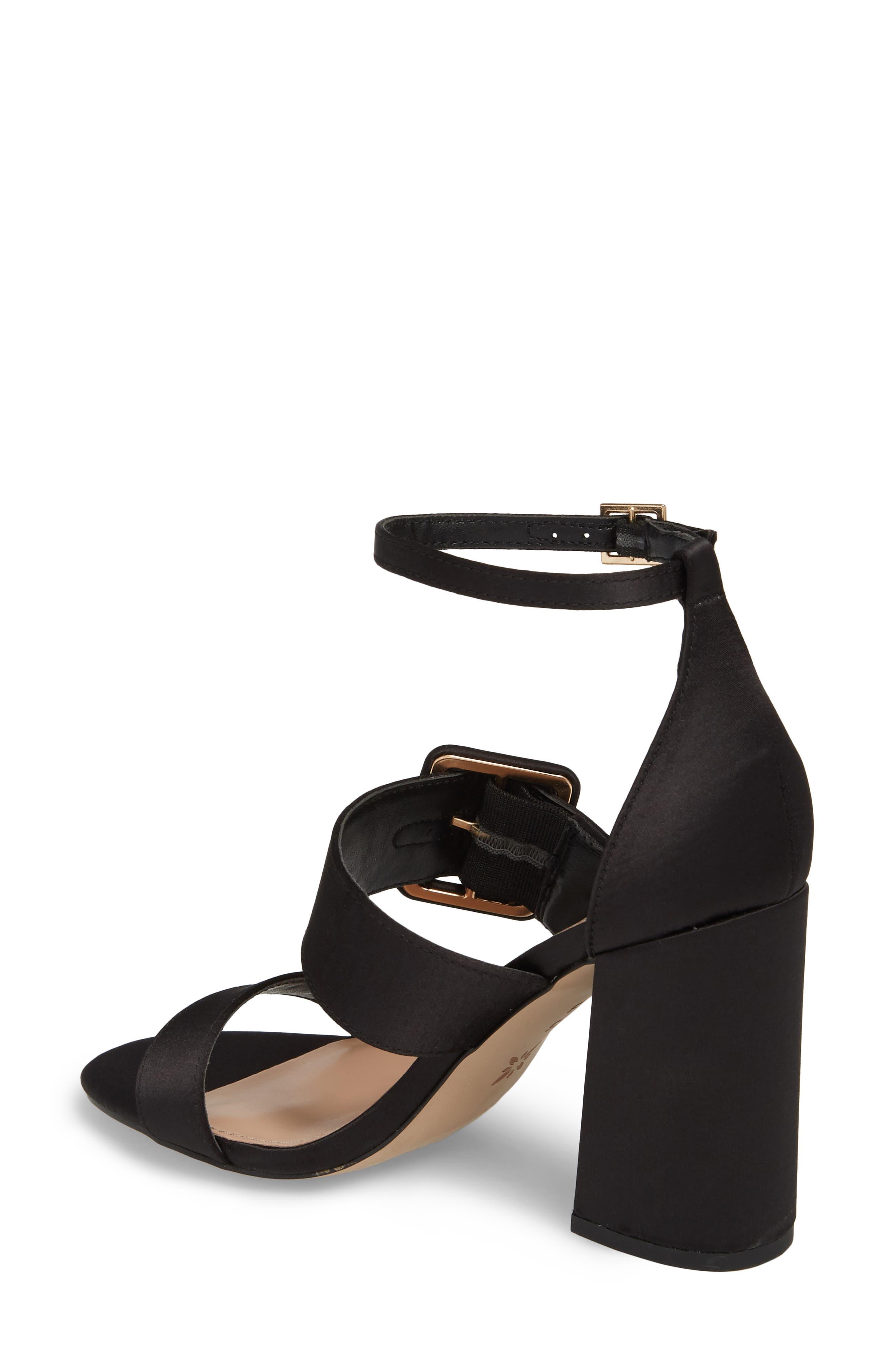 Raelynn Ankle Strap Sandal,                             Alternate thumbnail 2, color,                             BLACK SATIN