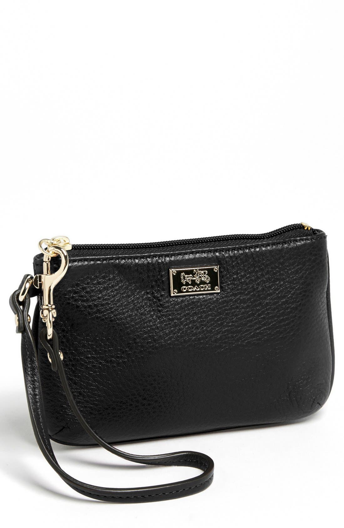 'Madison - Small' Leather Wristlet,                             Main thumbnail 1, color,                             001