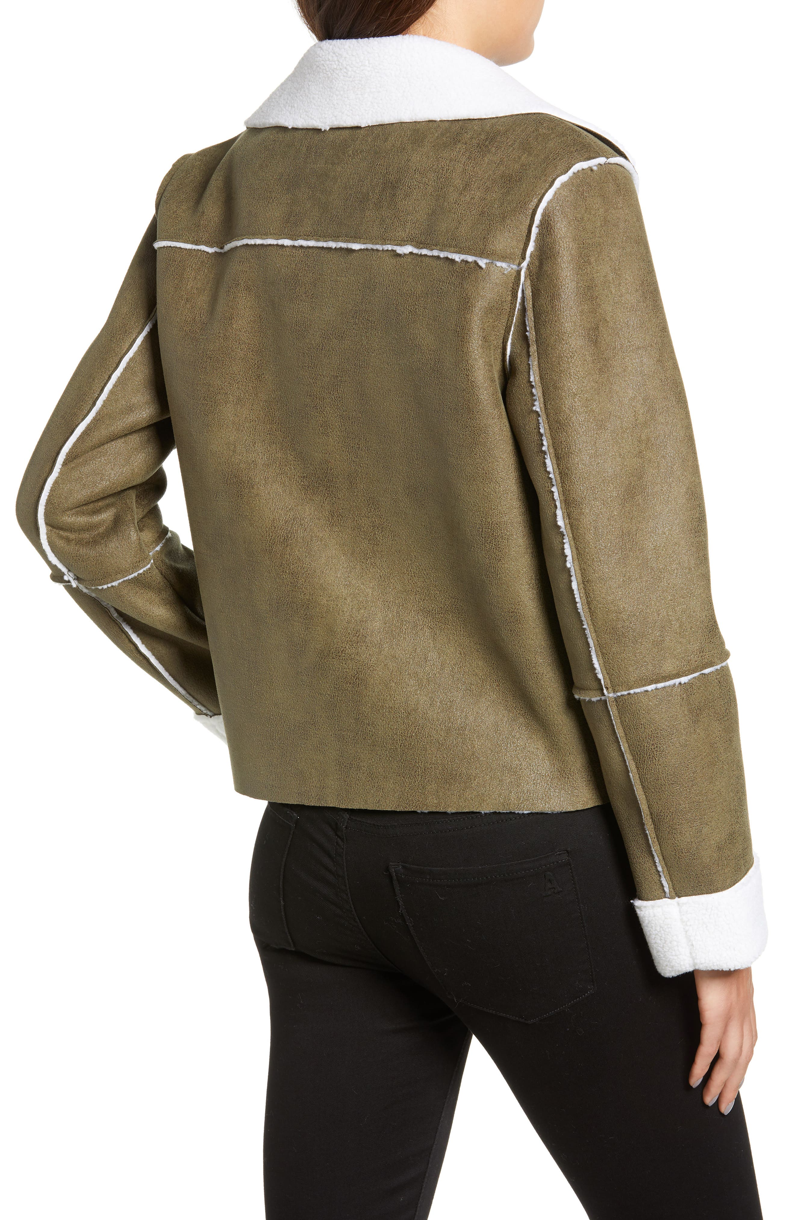 Faux Shearling Moto Jacket,                             Alternate thumbnail 2, color,                             300
