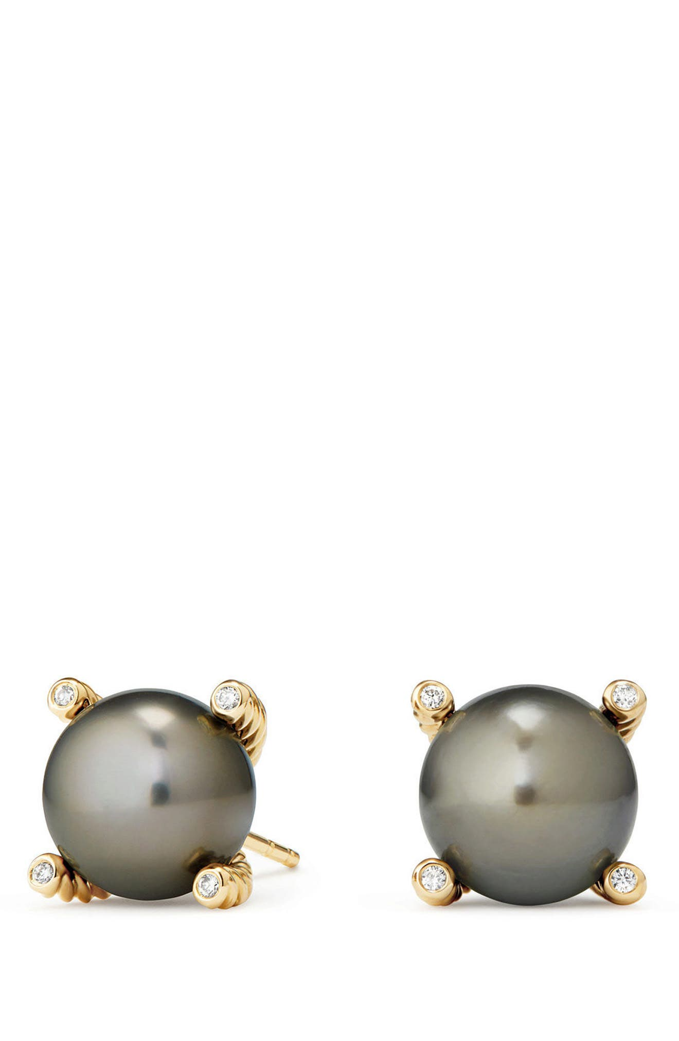 Genuine Pearl Earrings with Diamonds in 18K Gold,                             Main thumbnail 1, color,                             GOLD/ TAHITIAN GREY PEARL
