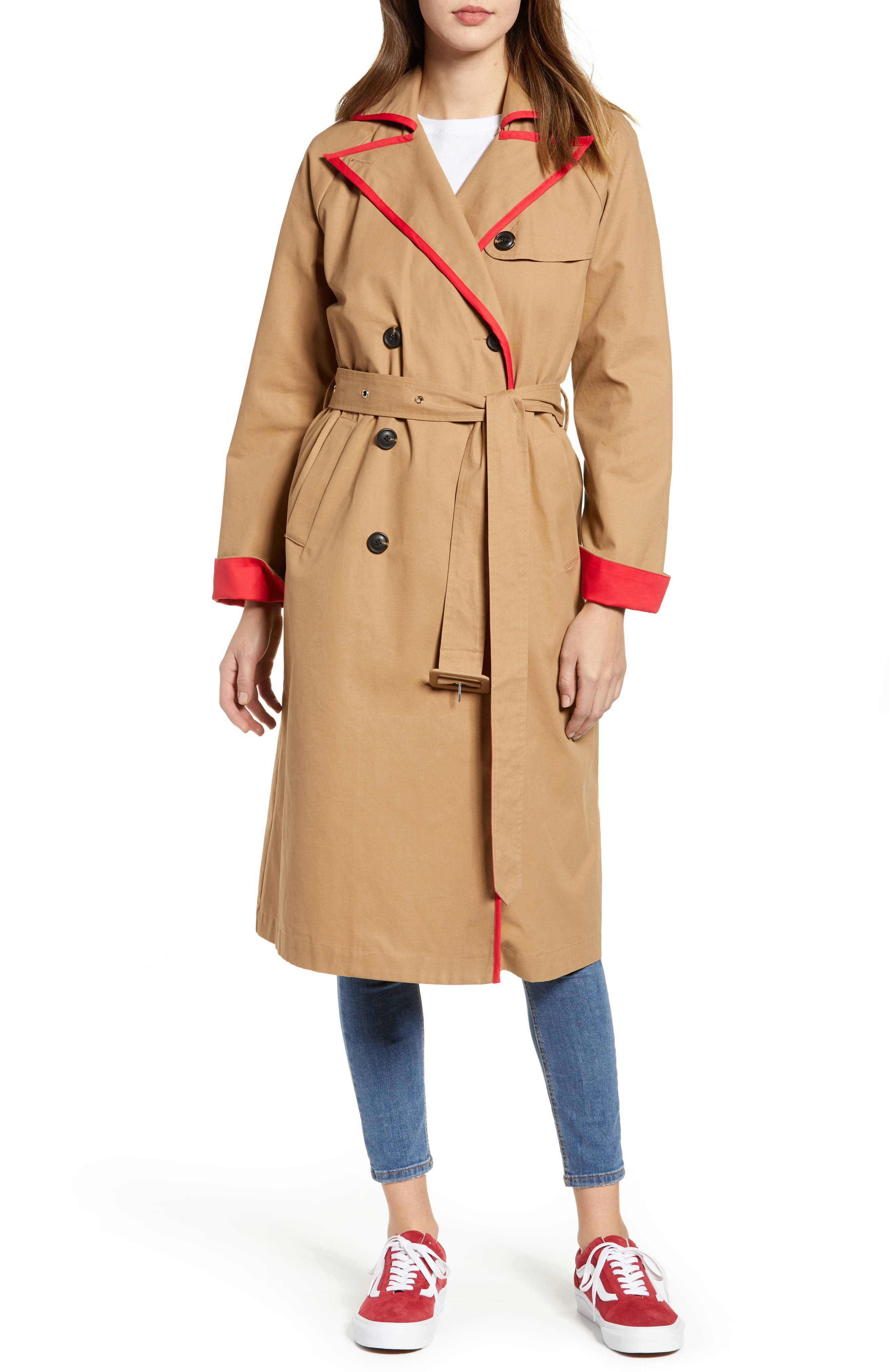 English Factory Contrast Binding Trench Coat, Brown