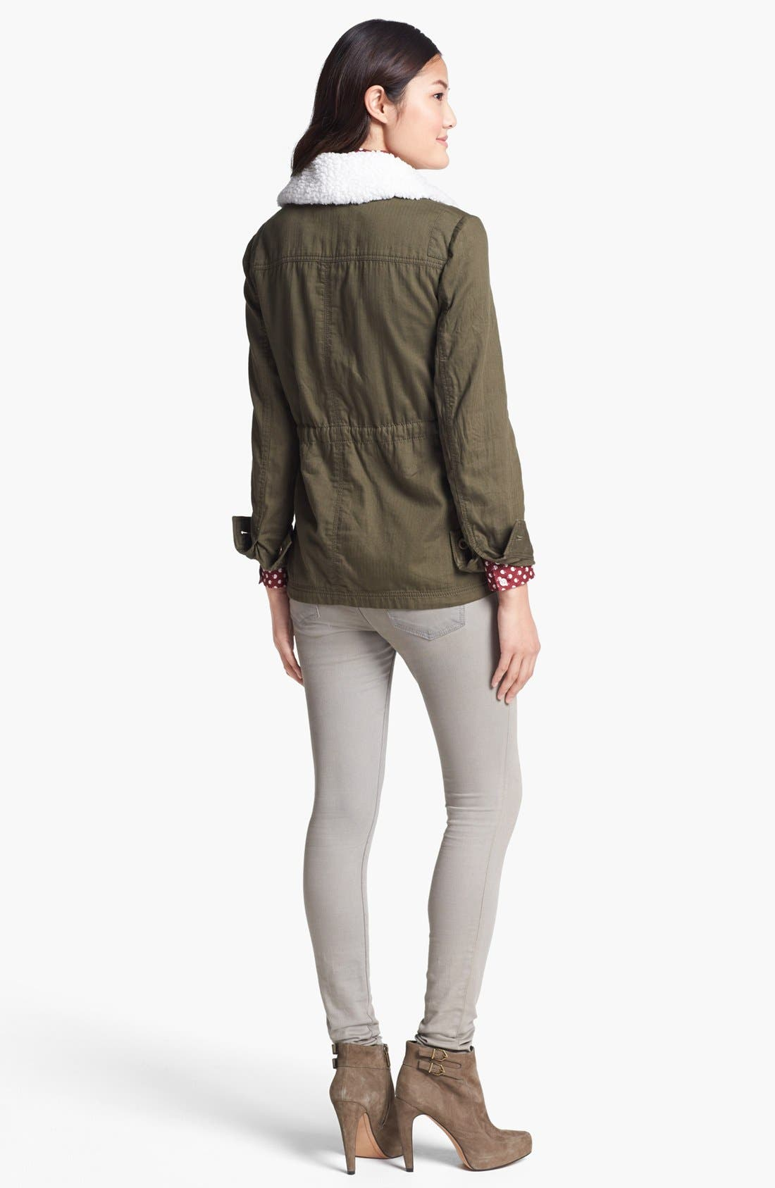 Removable Faux Shearling Collar Utility Jacket,                             Alternate thumbnail 3, color,                             300