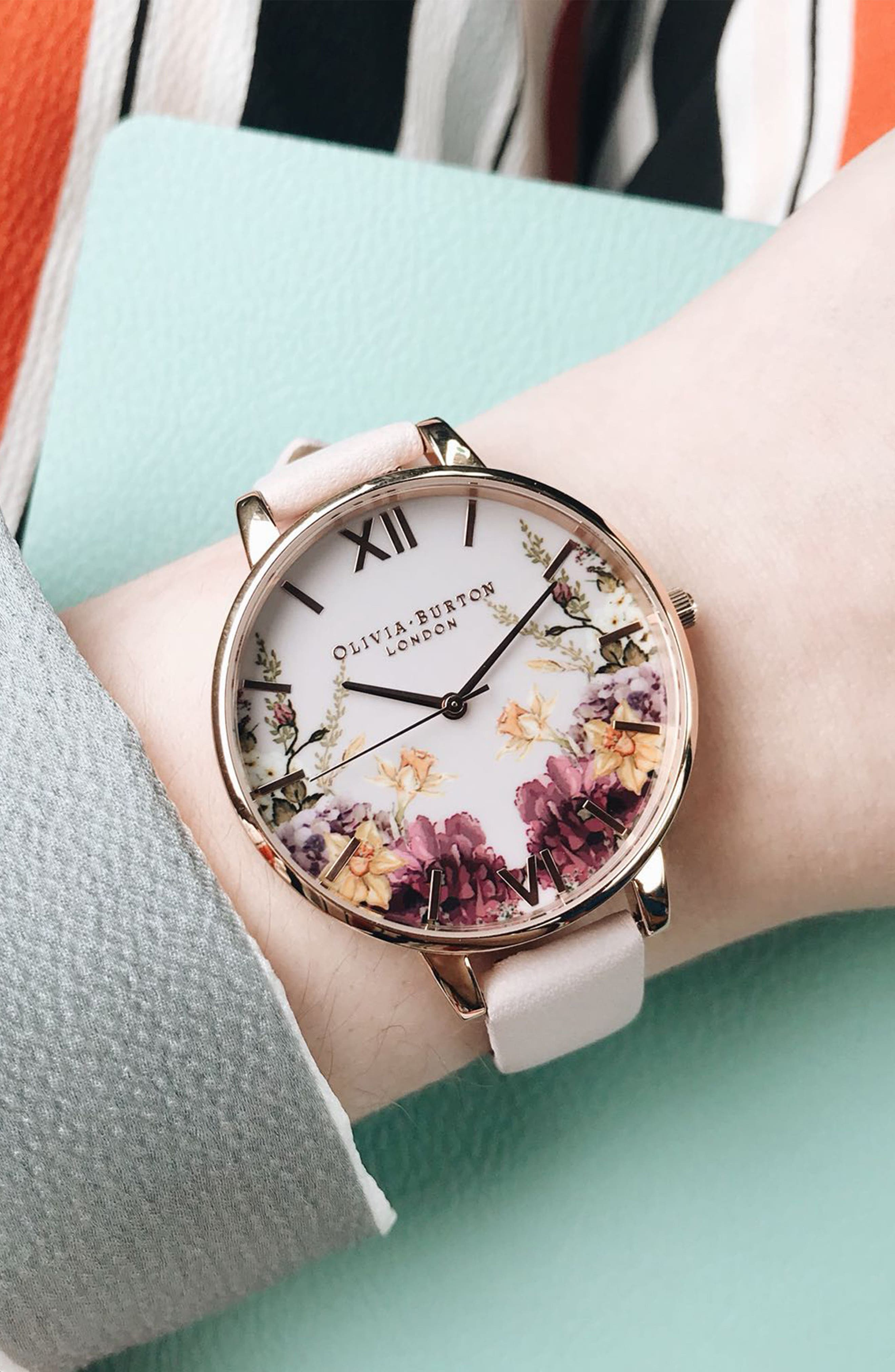 Enchanted Garden Leather Strap Watch, 38mm,                             Alternate thumbnail 6, color,                             BLOSSOM/ PINK/ ROSE GOLD