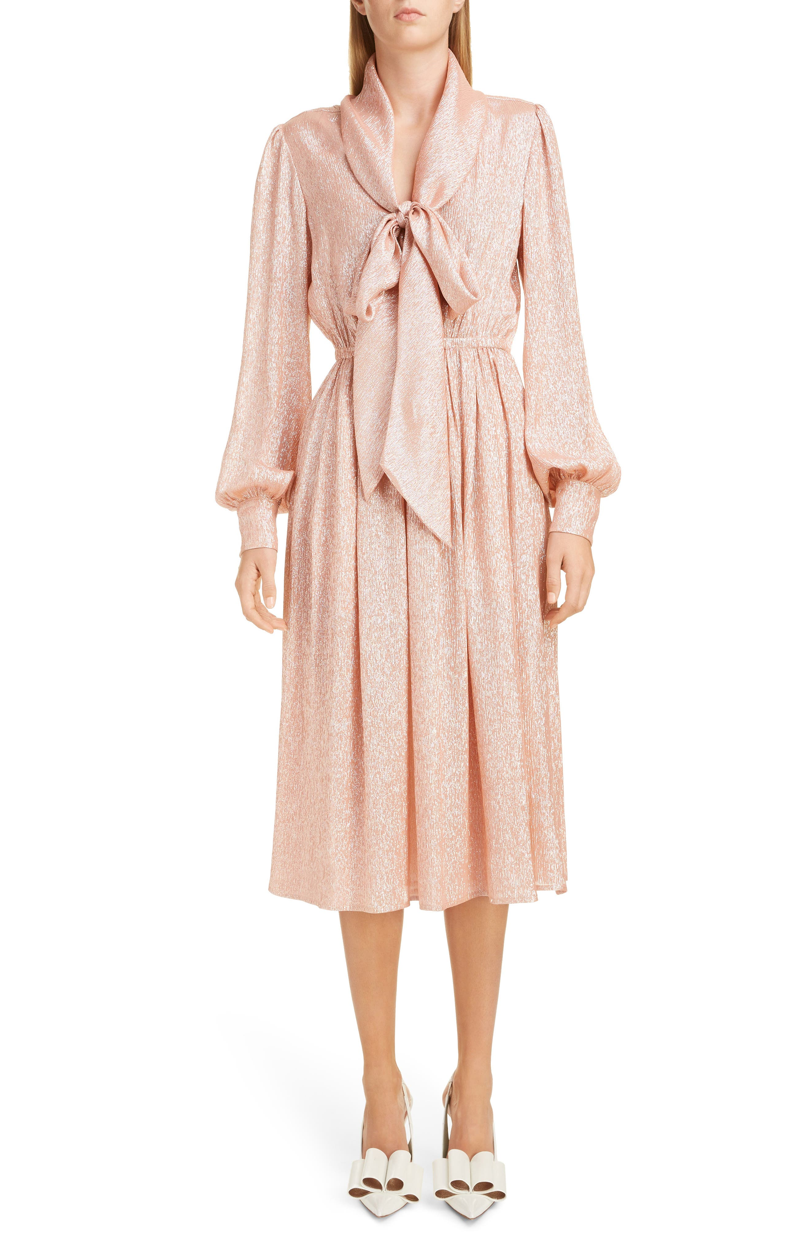 Marc Jacobs Tie Neck Lame Dress, Coral