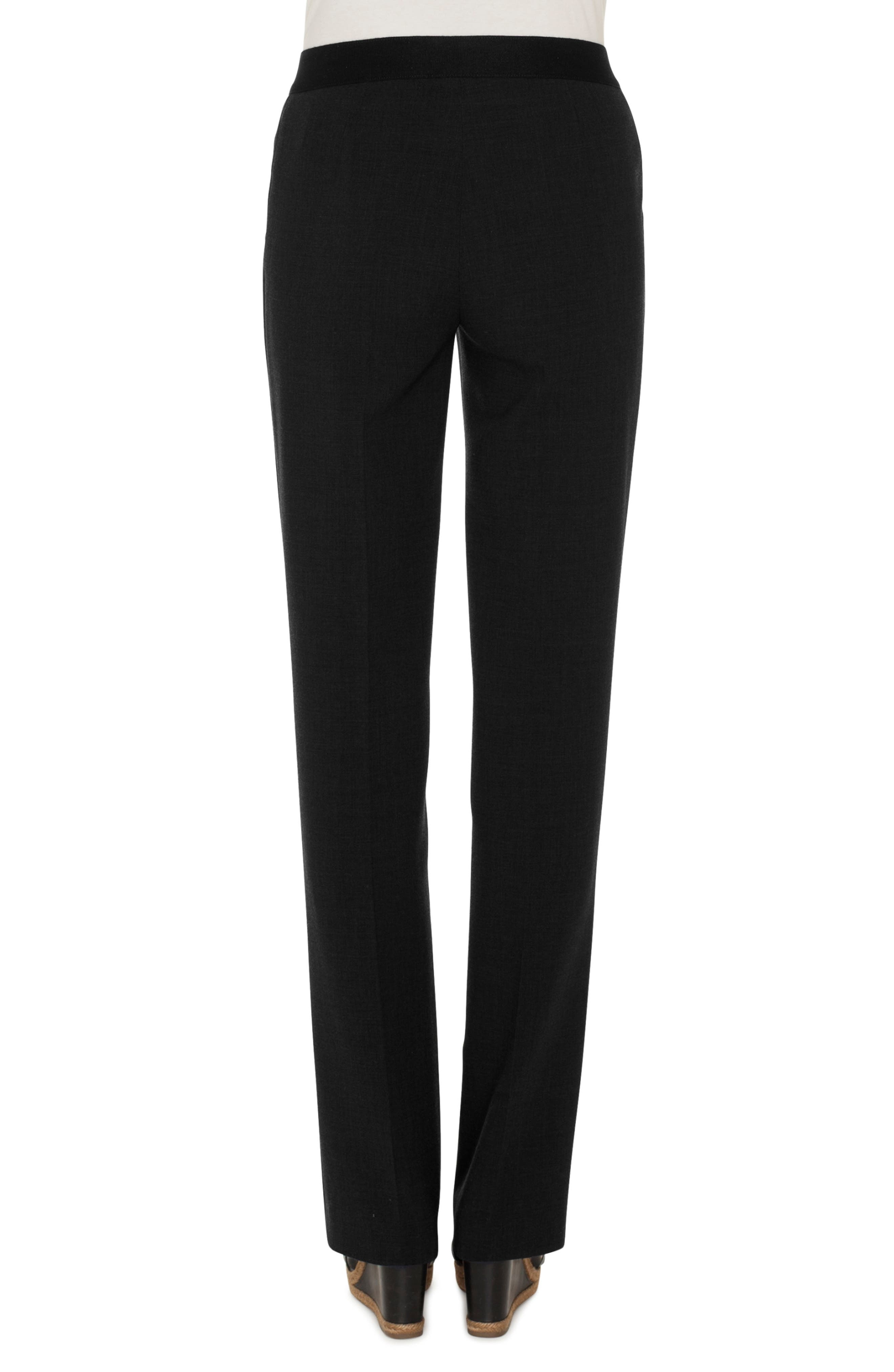 Double Face Stretch Wool Trousers,                             Alternate thumbnail 2, color,                             BLACK
