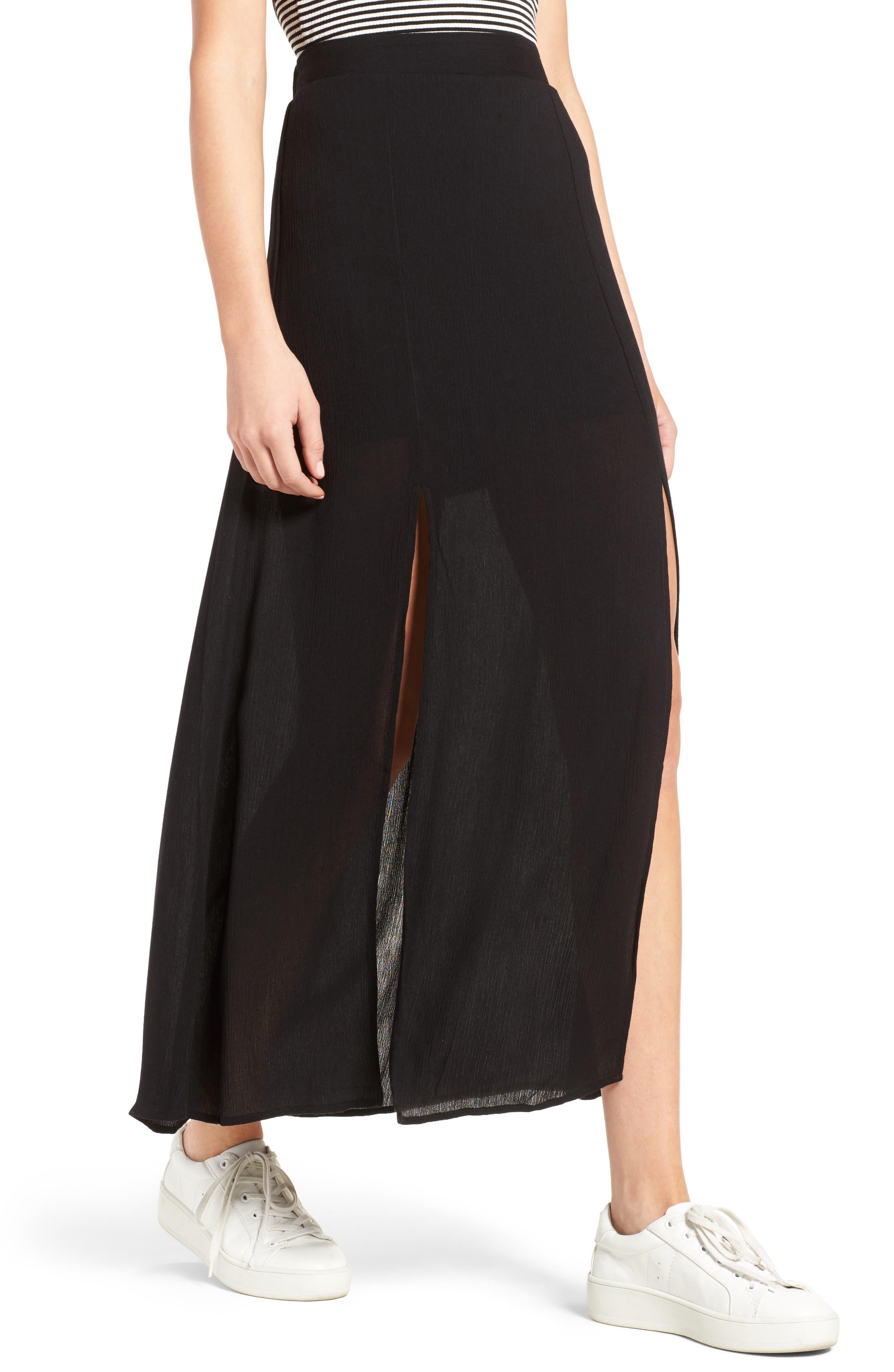 Slit Maxi Skirt,                             Alternate thumbnail 4, color,                             001
