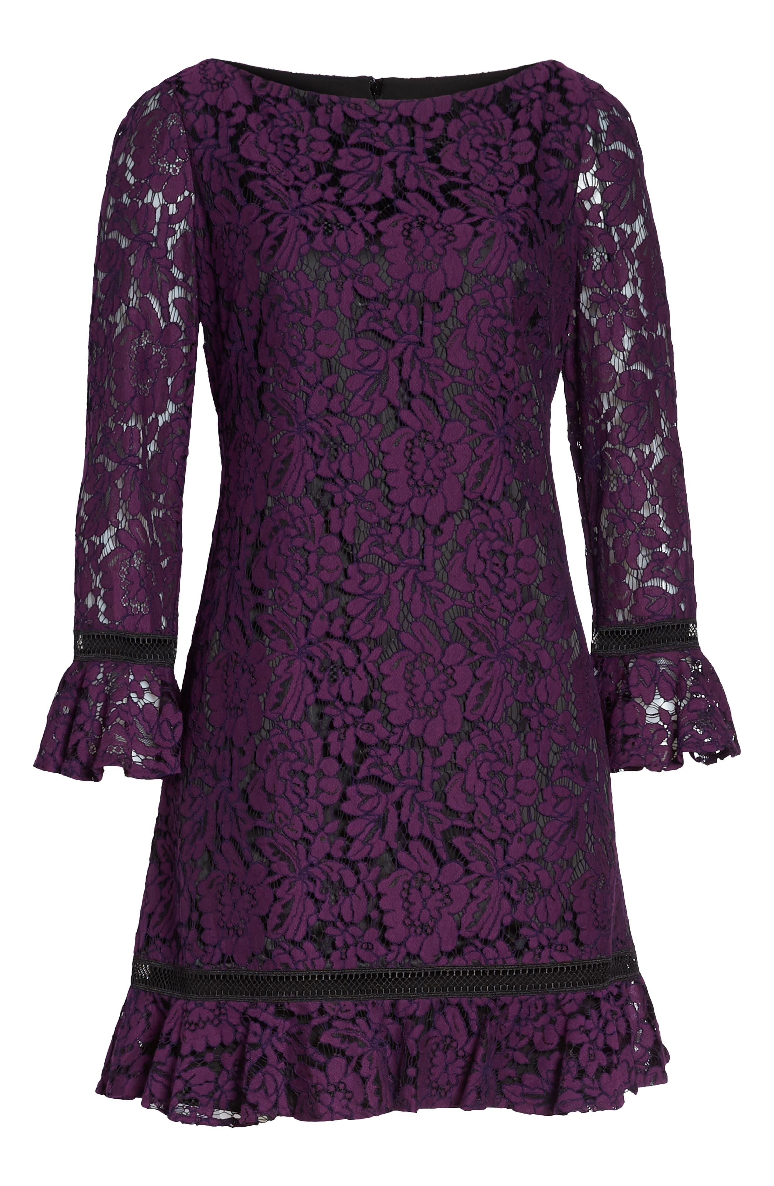 Flare Sleeve Lace Shift Dress,                             Alternate thumbnail 13, color,