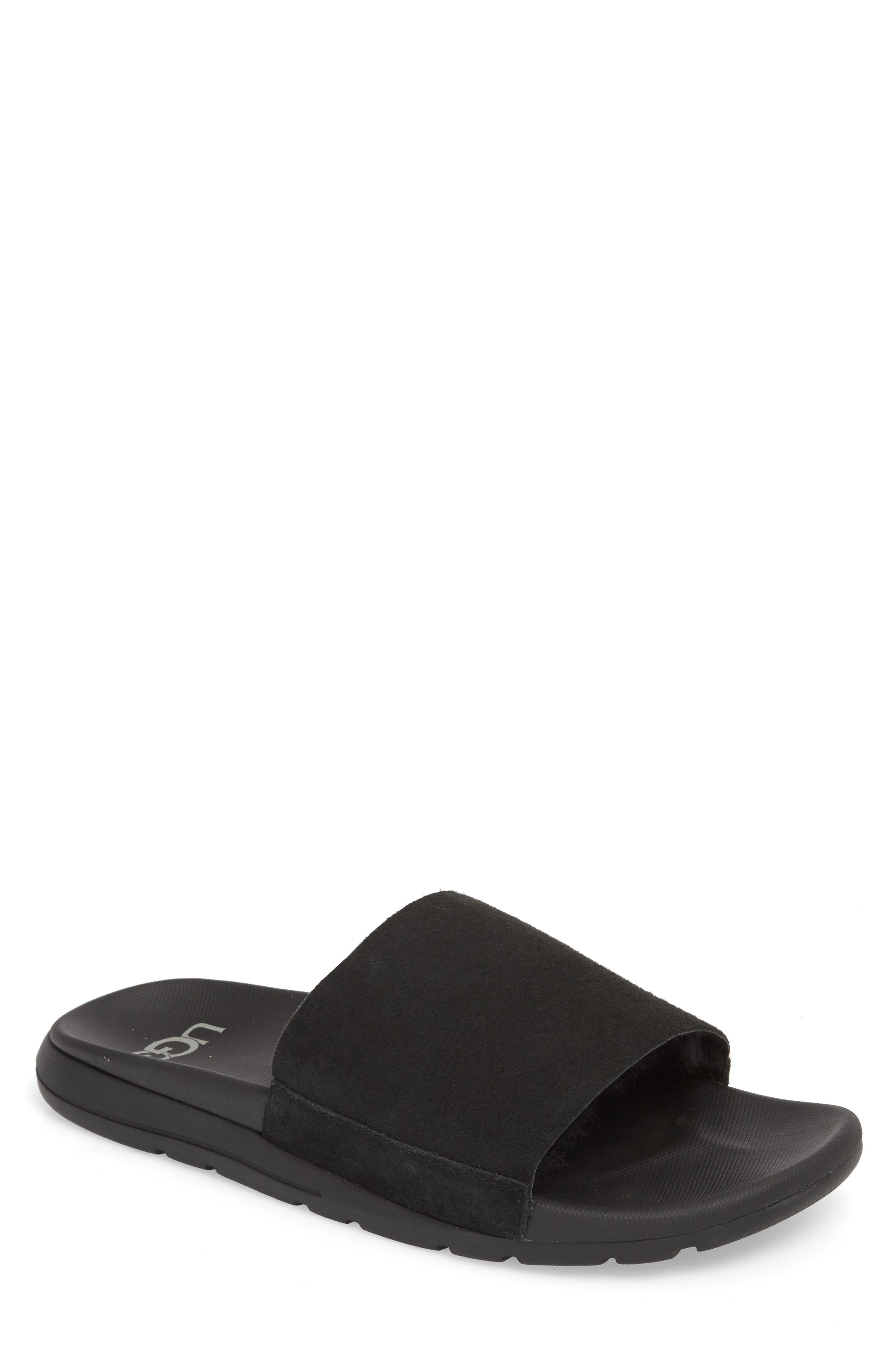 Xavier TF Genuine Shearling Slide Sandal,                             Main thumbnail 1, color,                             BLACK