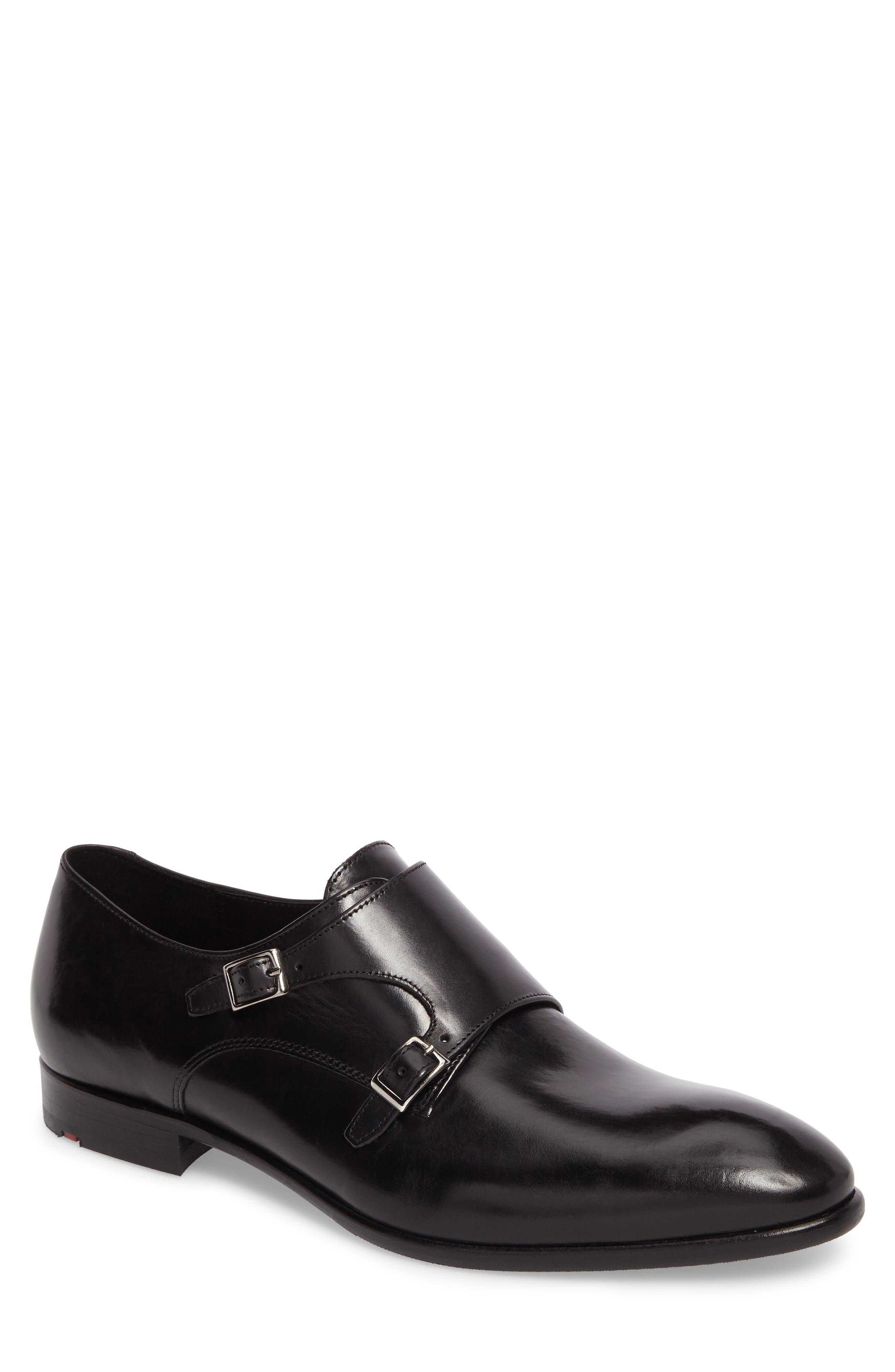 Michael Double Monk Strap Shoe,                         Main,                         color, BLACK LEATHER