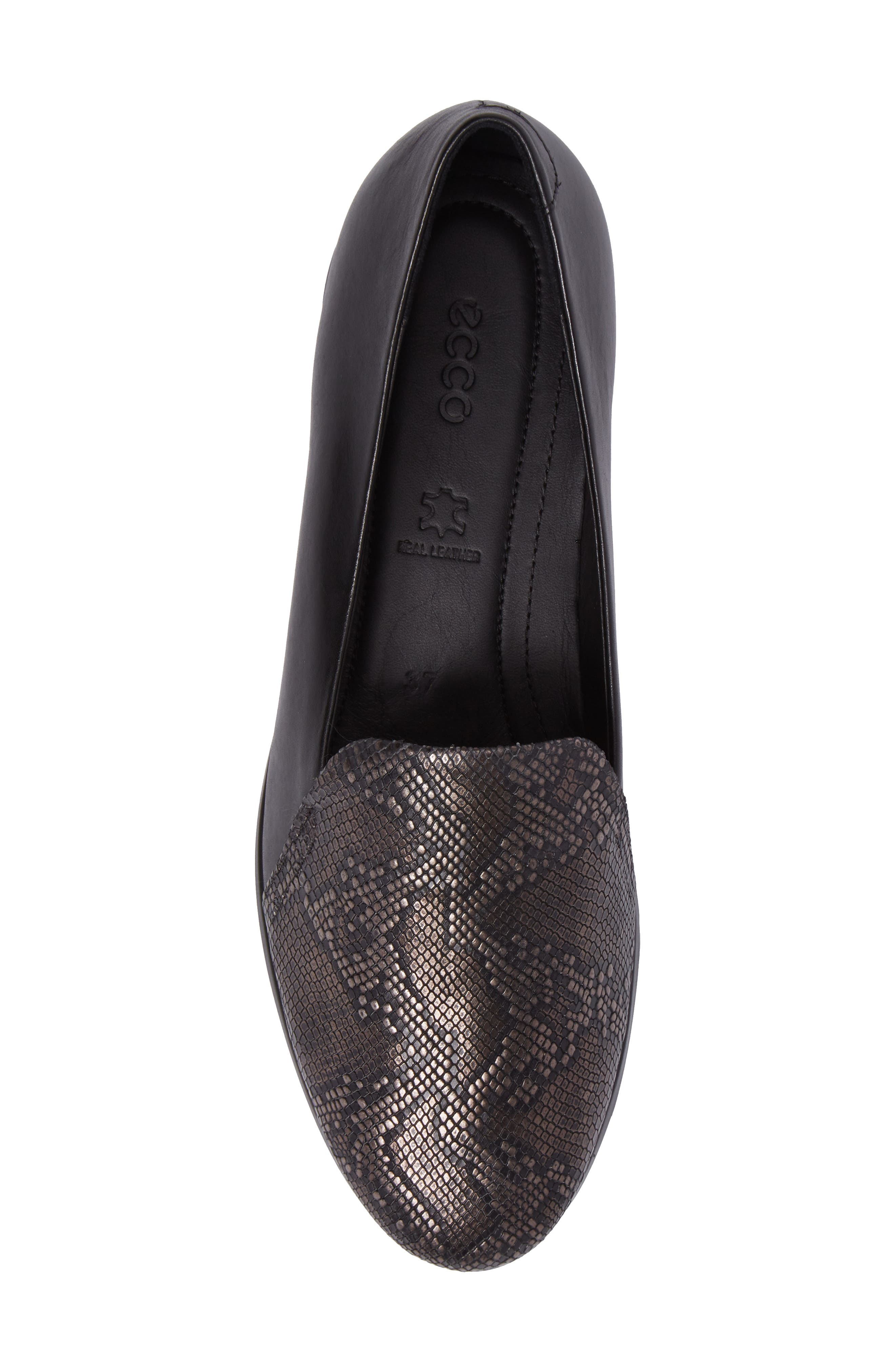 Touch 2.0 Scale Embossed Loafer Flat,                             Alternate thumbnail 5, color,                             DARK SHADOW LEATHER