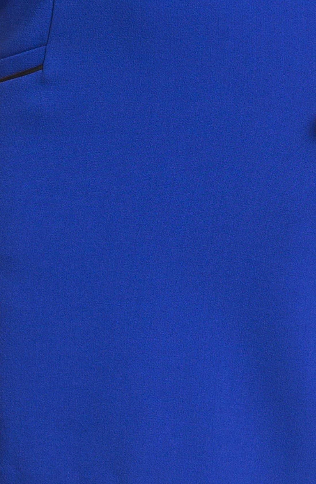 ELIZA J,                             Faux Leather Trim Ponte Shift Dress,                             Alternate thumbnail 3, color,                             432