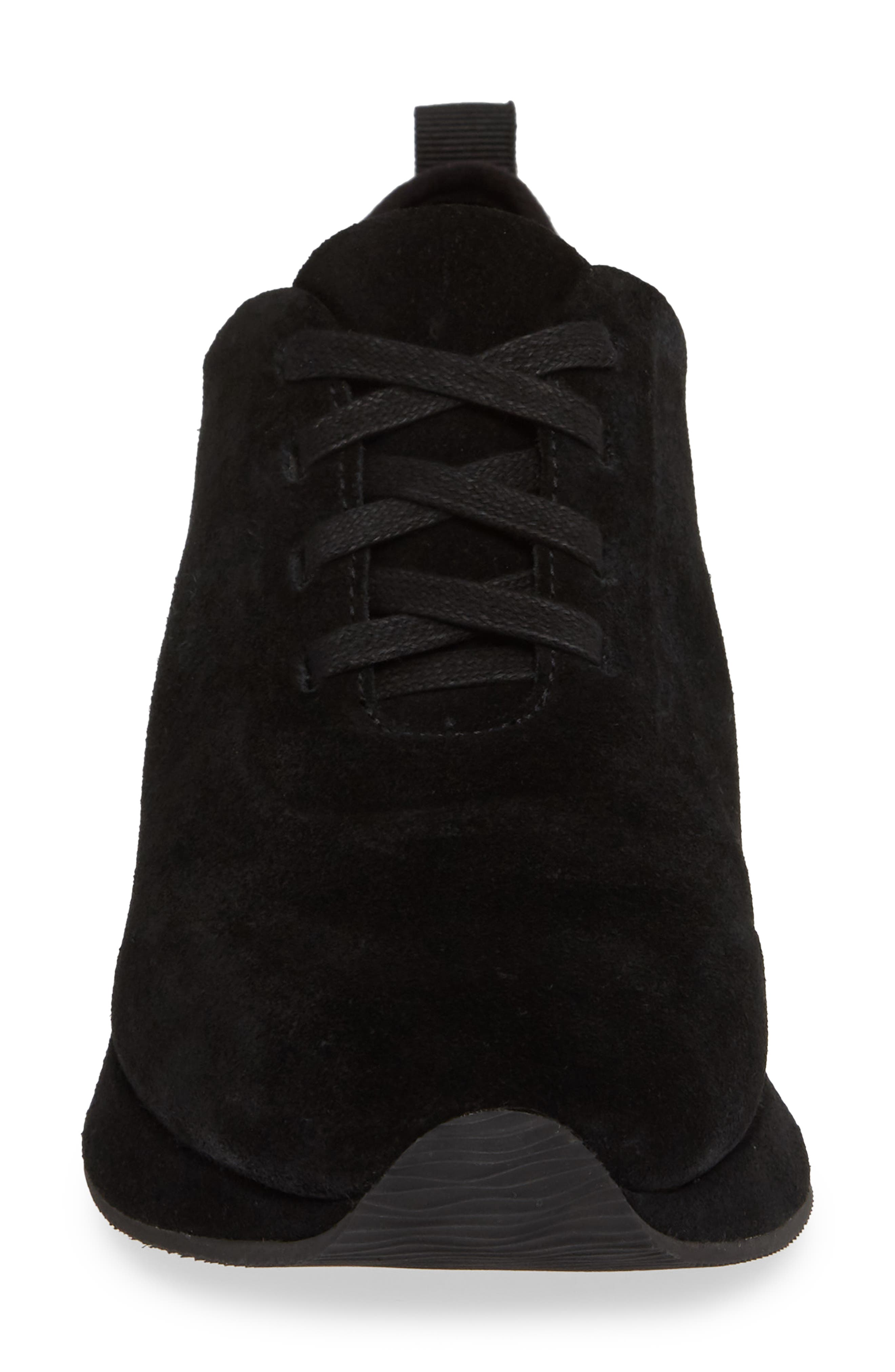 Mabel Sneaker,                             Alternate thumbnail 4, color,                             BLACK SUEDE
