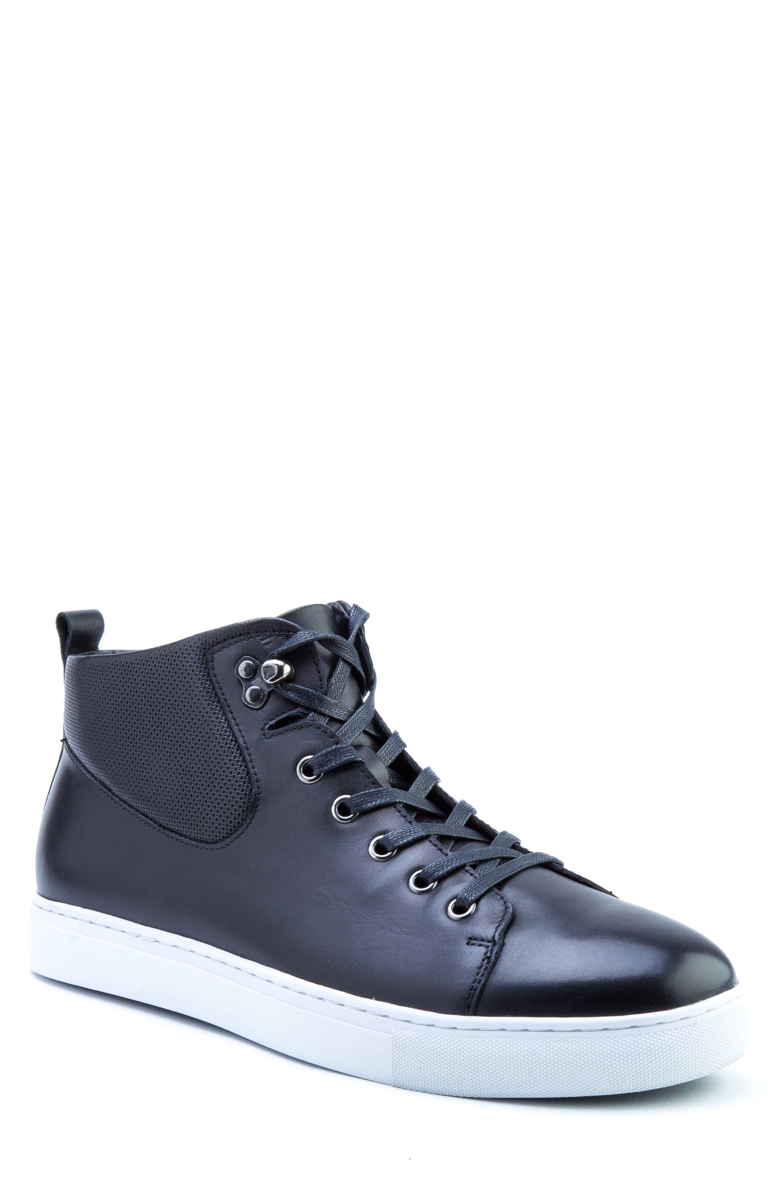 Sanders Sneaker,                         Main,                         color, BLACK LEATHER