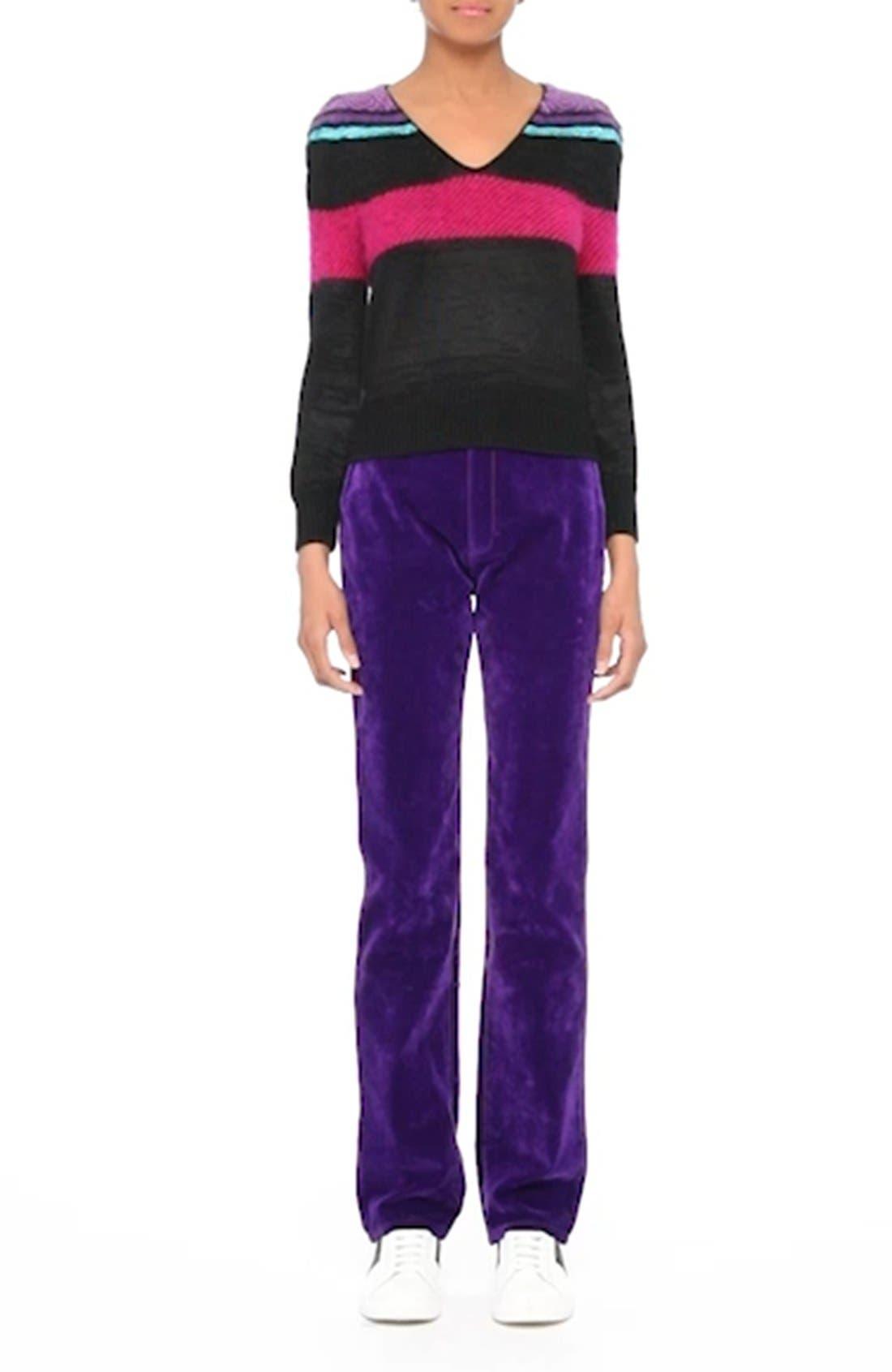 '80s Stripe Knit Sweater,                             Alternate thumbnail 8, color,                             002