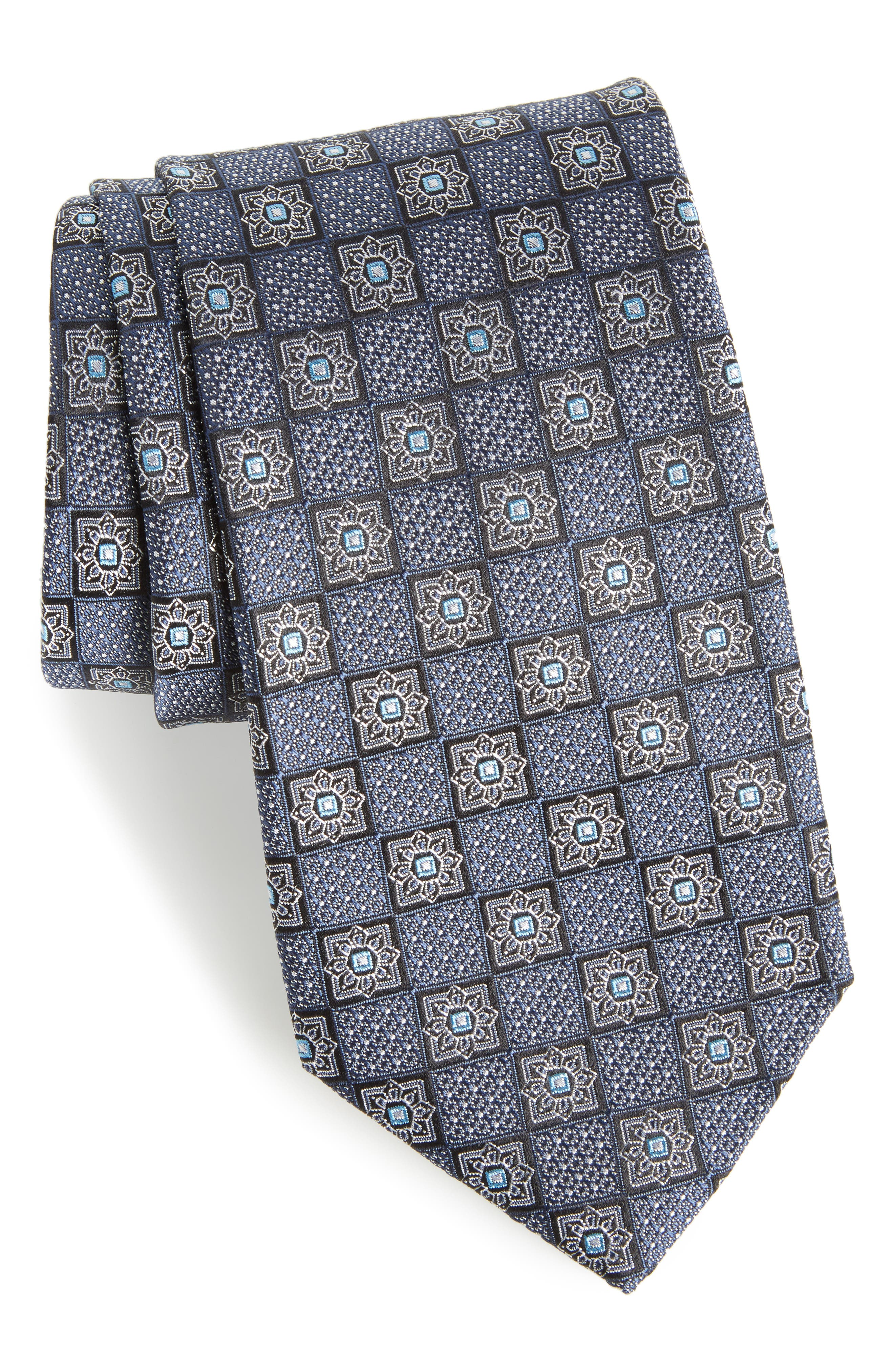 Settala Medallion Silk Tie,                             Main thumbnail 1, color,                             001