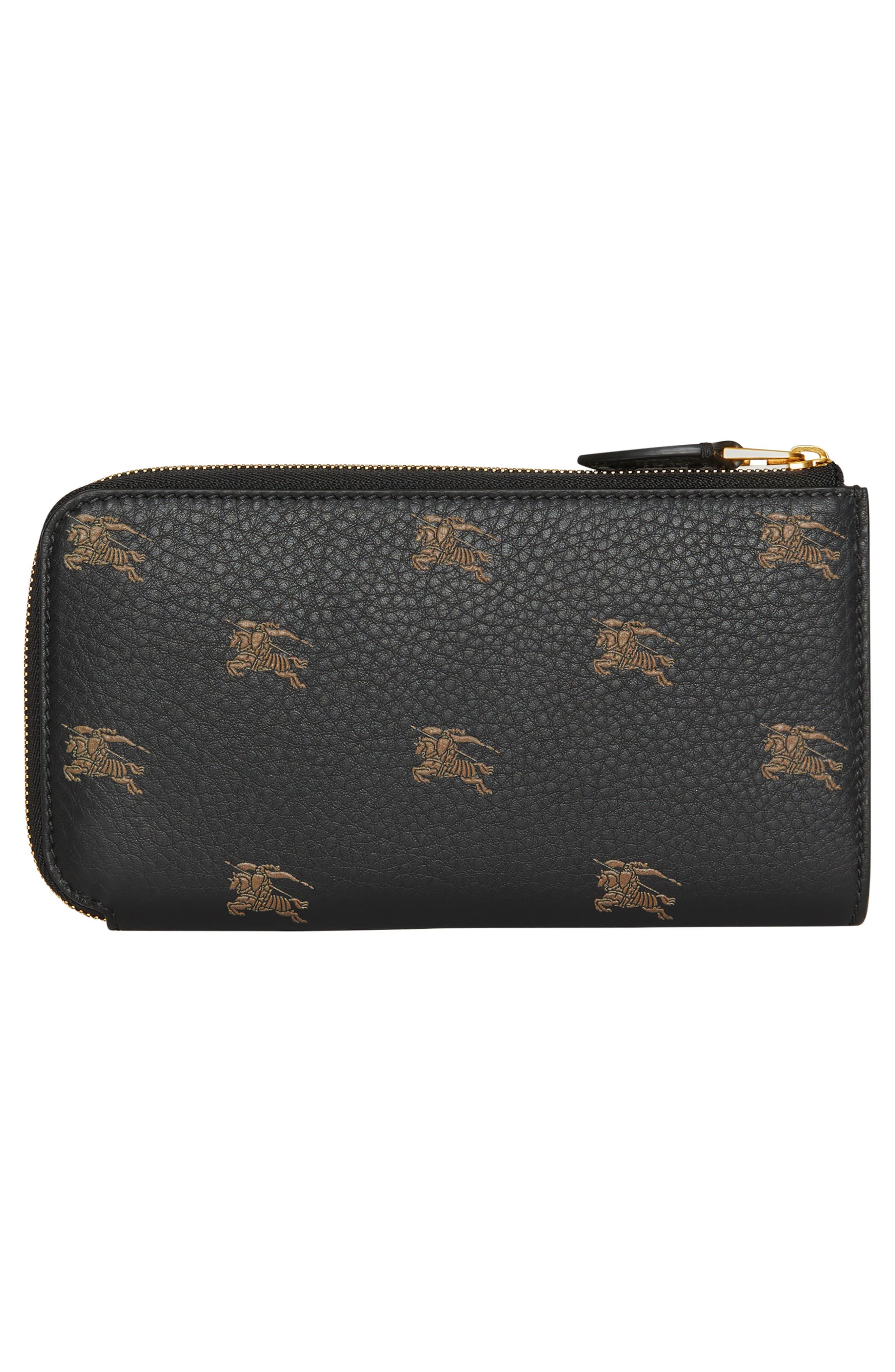 Embossed Leather Zip Around Wallet,                             Alternate thumbnail 3, color,                             BLACK