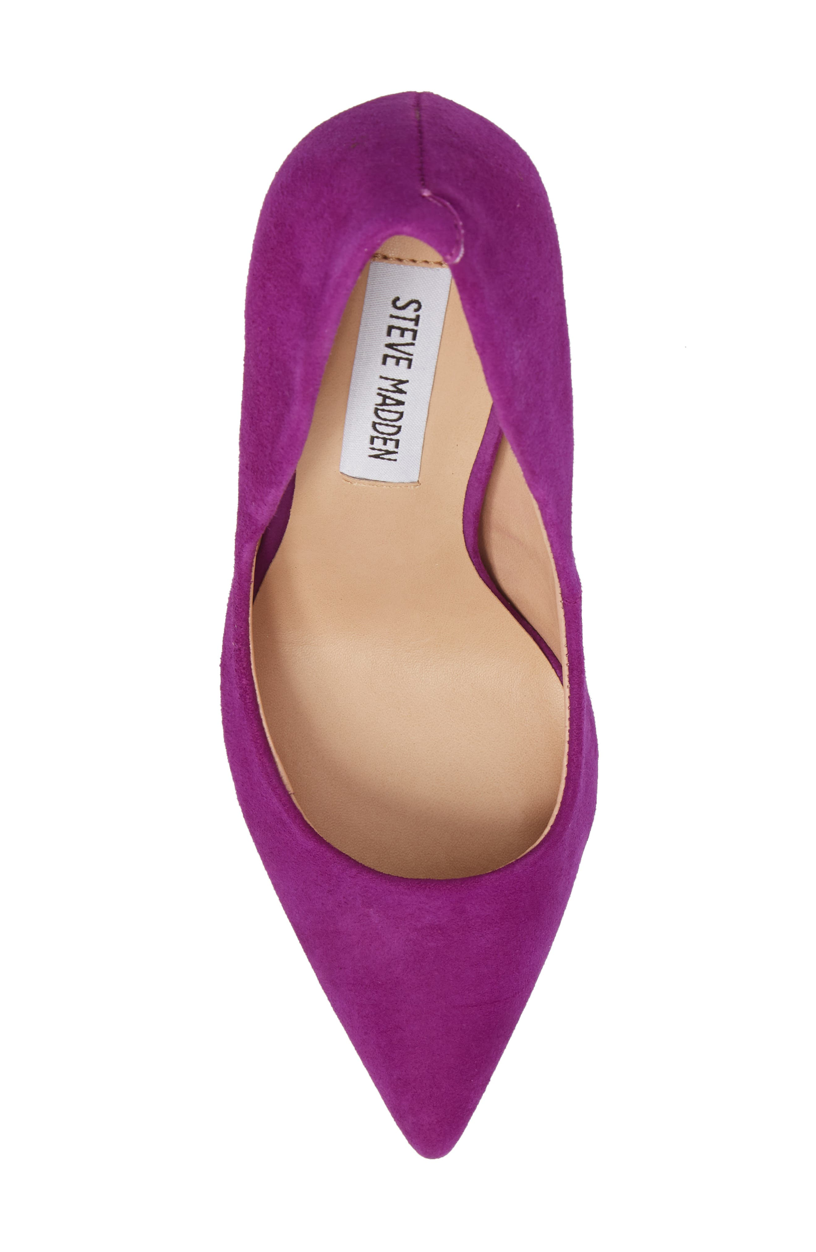 Daisie Pointy-Toe Pump,                             Alternate thumbnail 5, color,                             PURPLE SUEDE