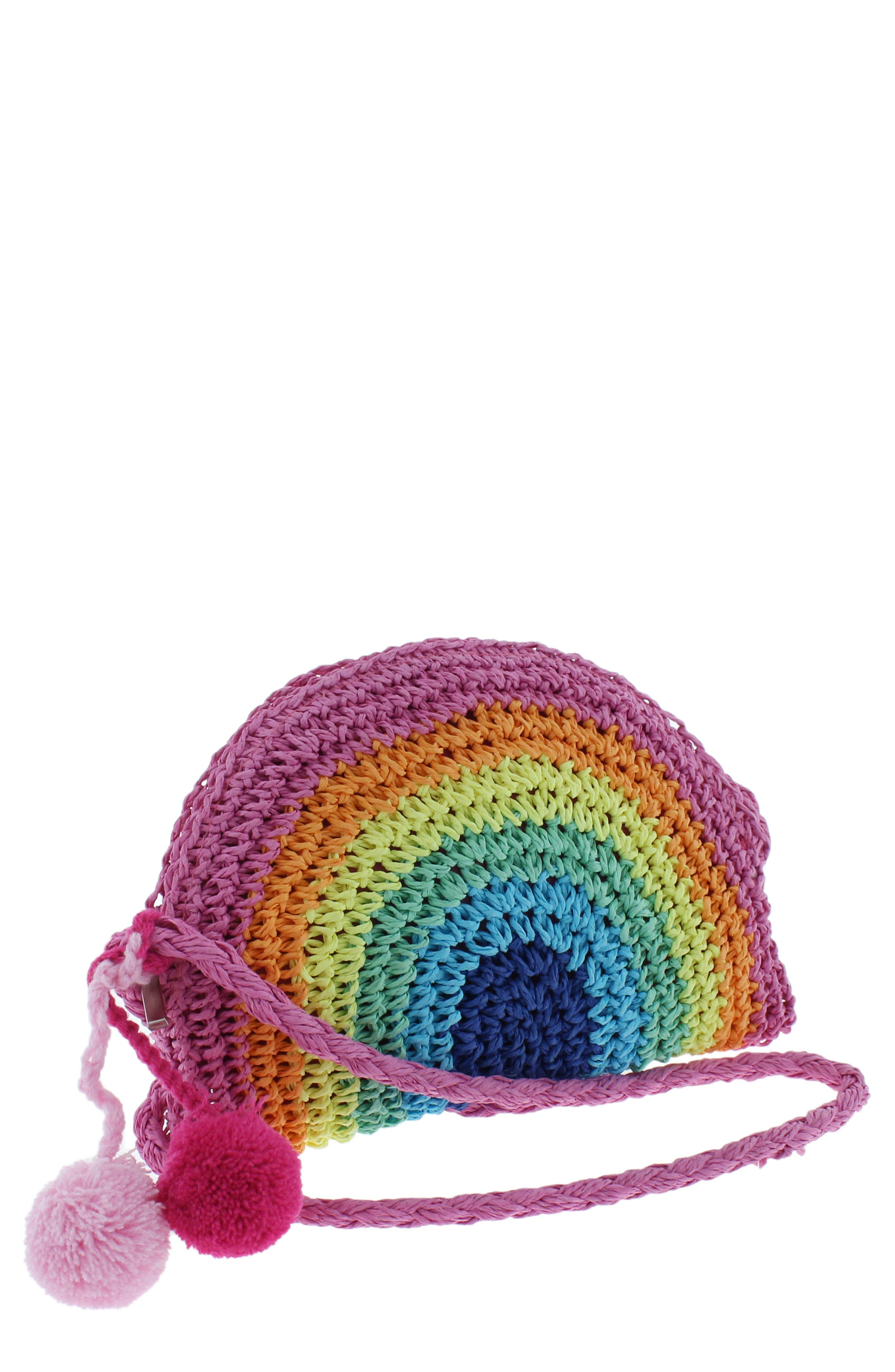 Rainbow Straw Crossbody Bag,                             Main thumbnail 1, color,                             MULTI CO