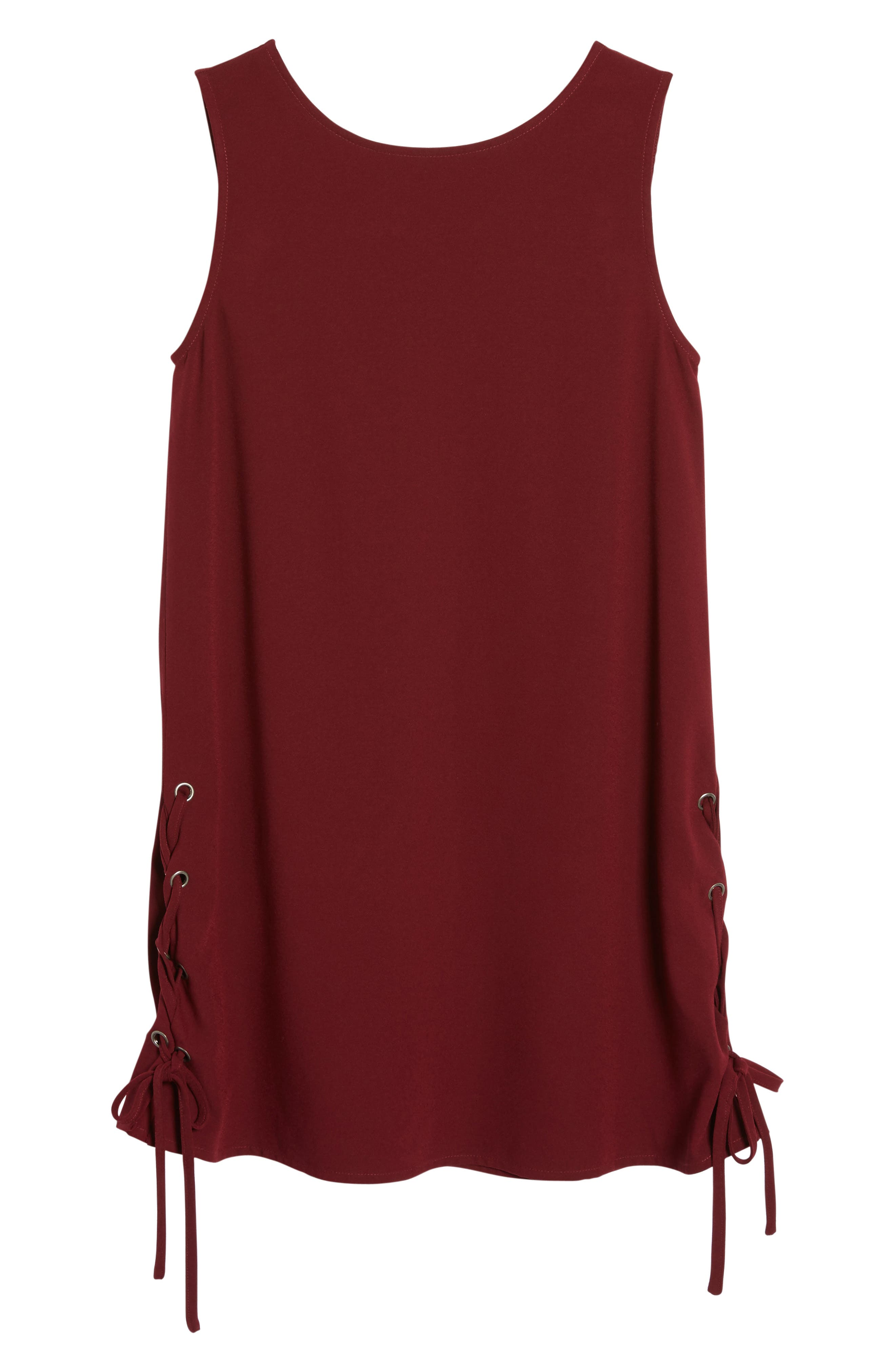 Timberly Lace-Up Shift Dress,                             Alternate thumbnail 6, color,                             934