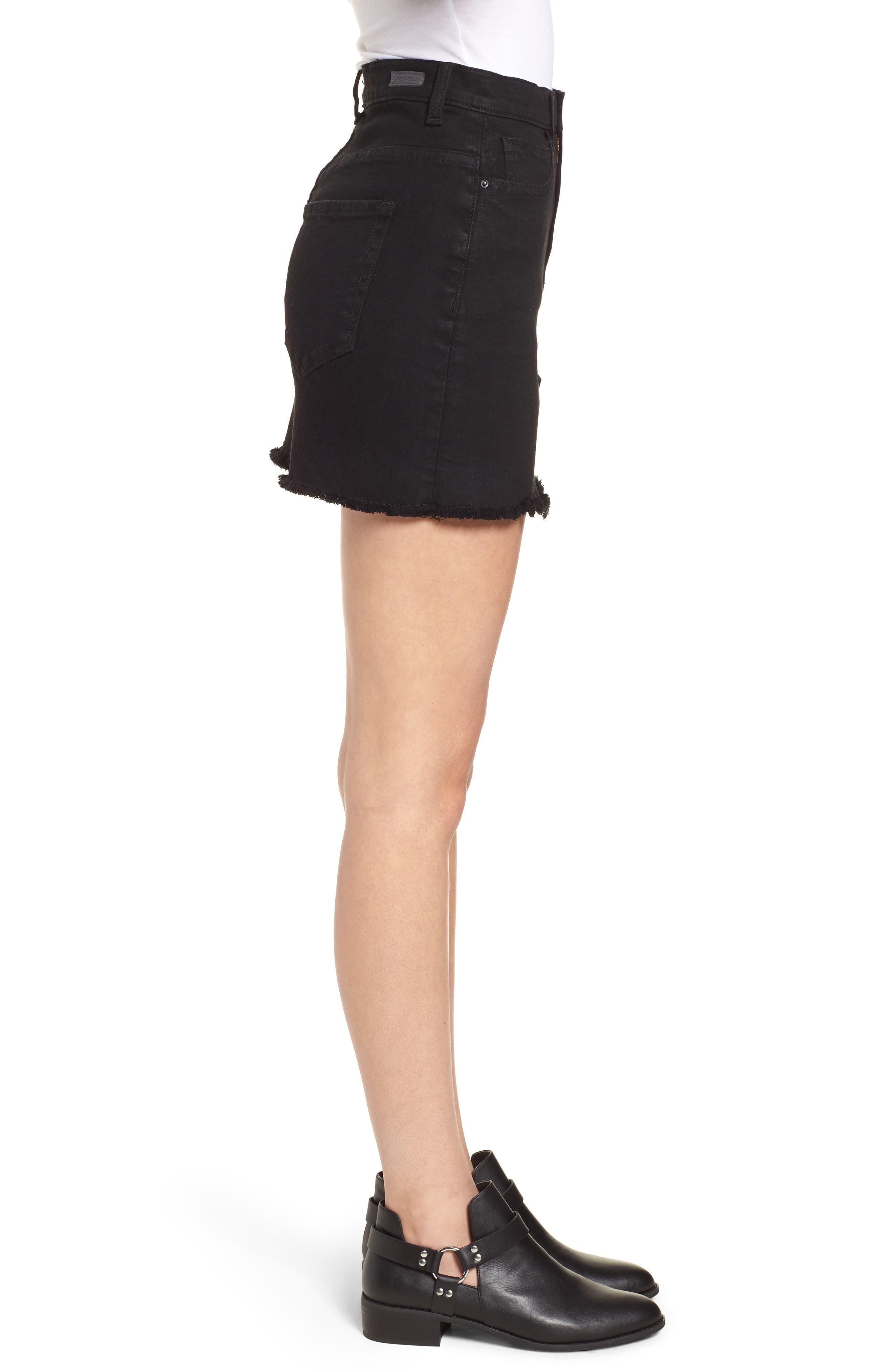 Stretch Denim Miniskirt,                             Alternate thumbnail 3, color,                             001