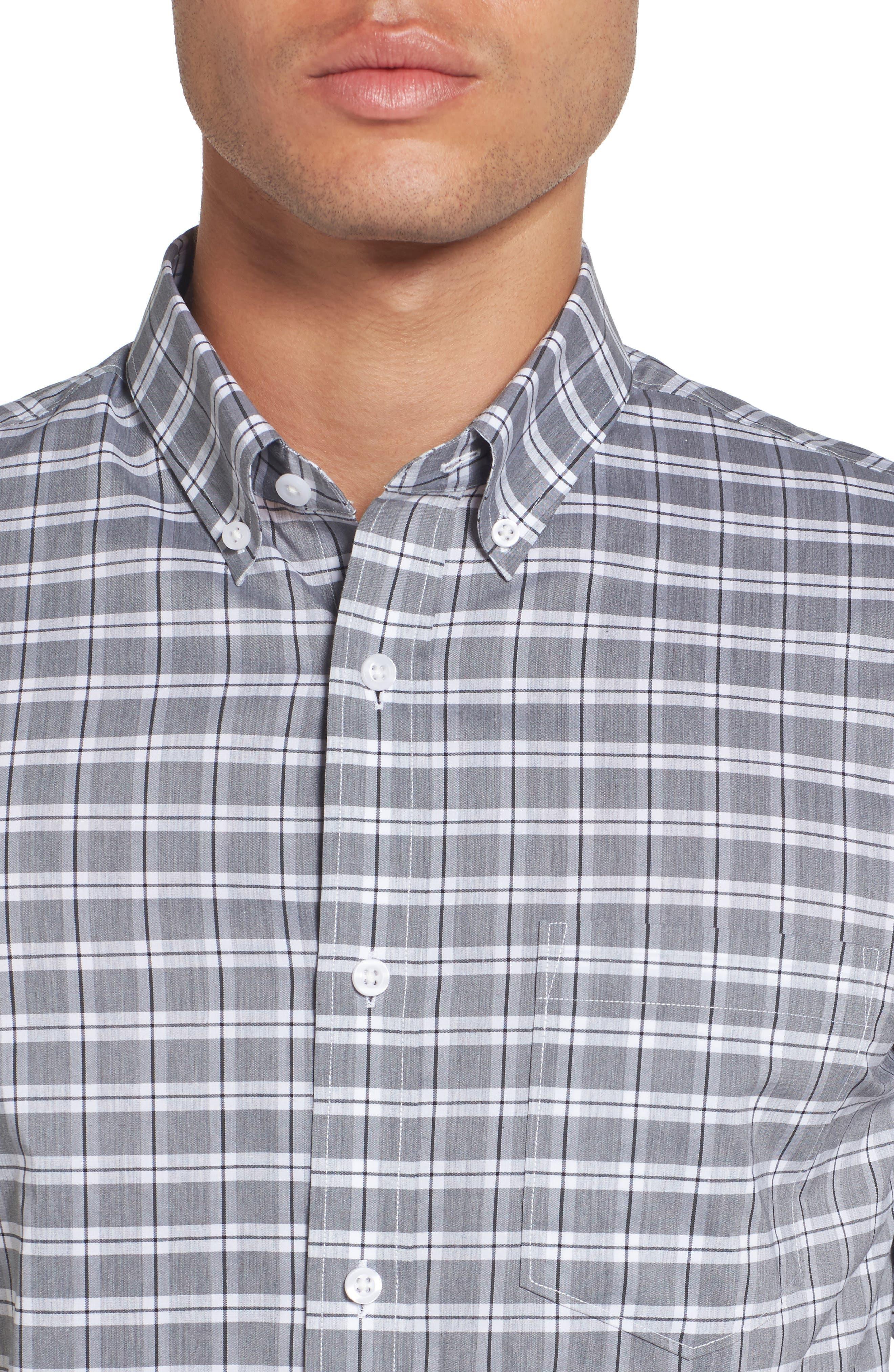Trim Fit Tech-Smart Heather Check Sport Shirt,                             Alternate thumbnail 4, color,                             030