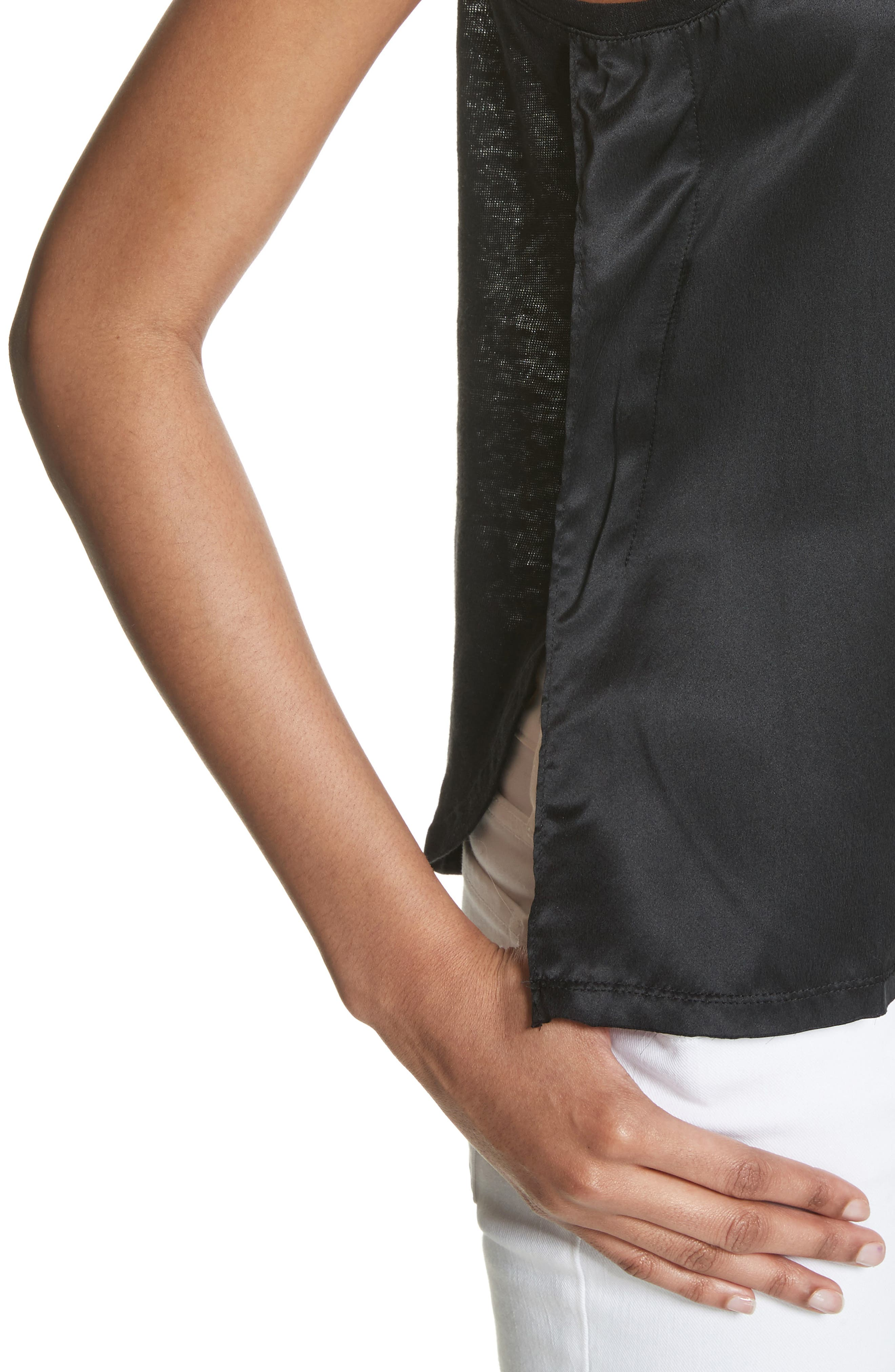 Silk & Linen Tank,                             Alternate thumbnail 4, color,                             001