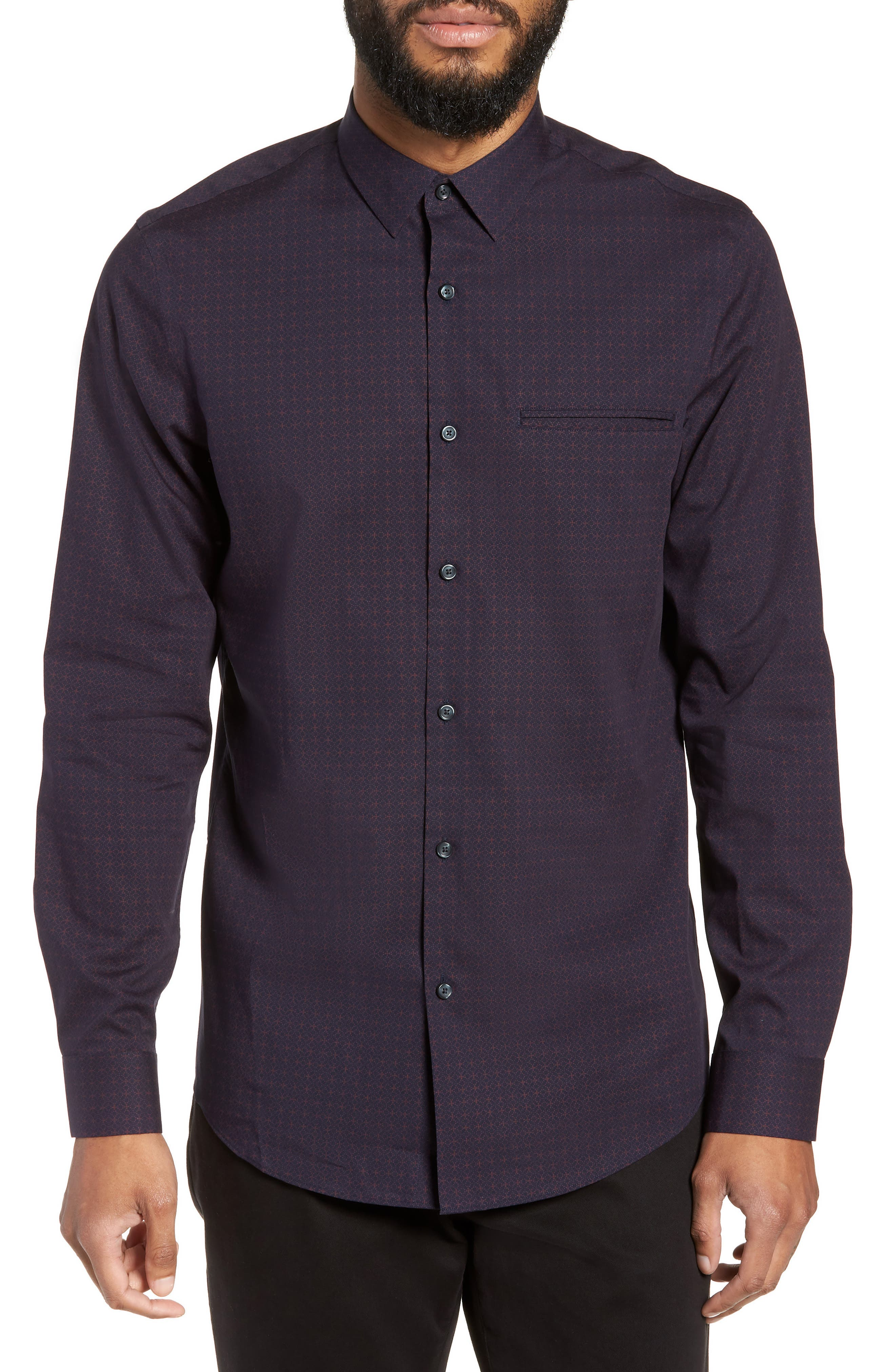 Slim Fit Print Non Iron Sport Shirt,                         Main,                         color, NAVY NIGHT BURGUNDY GEO