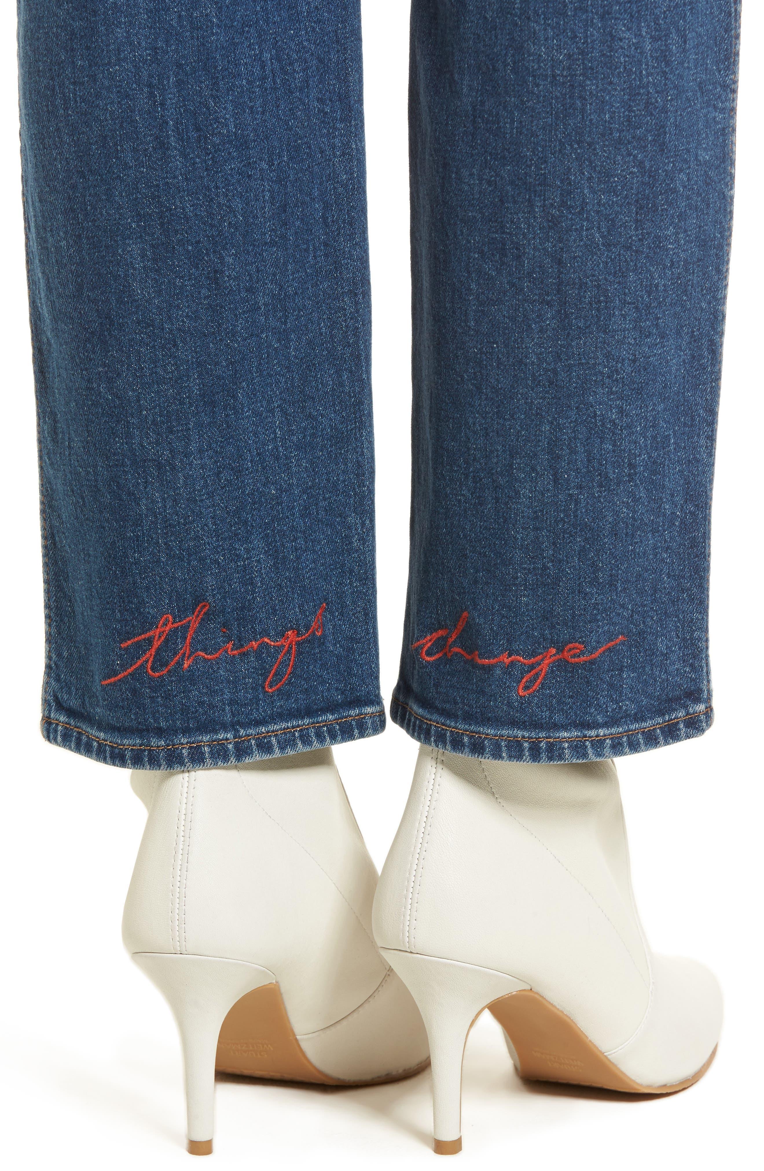 Edie High Waist Crop Straight Leg Jeans,                             Alternate thumbnail 18, color,