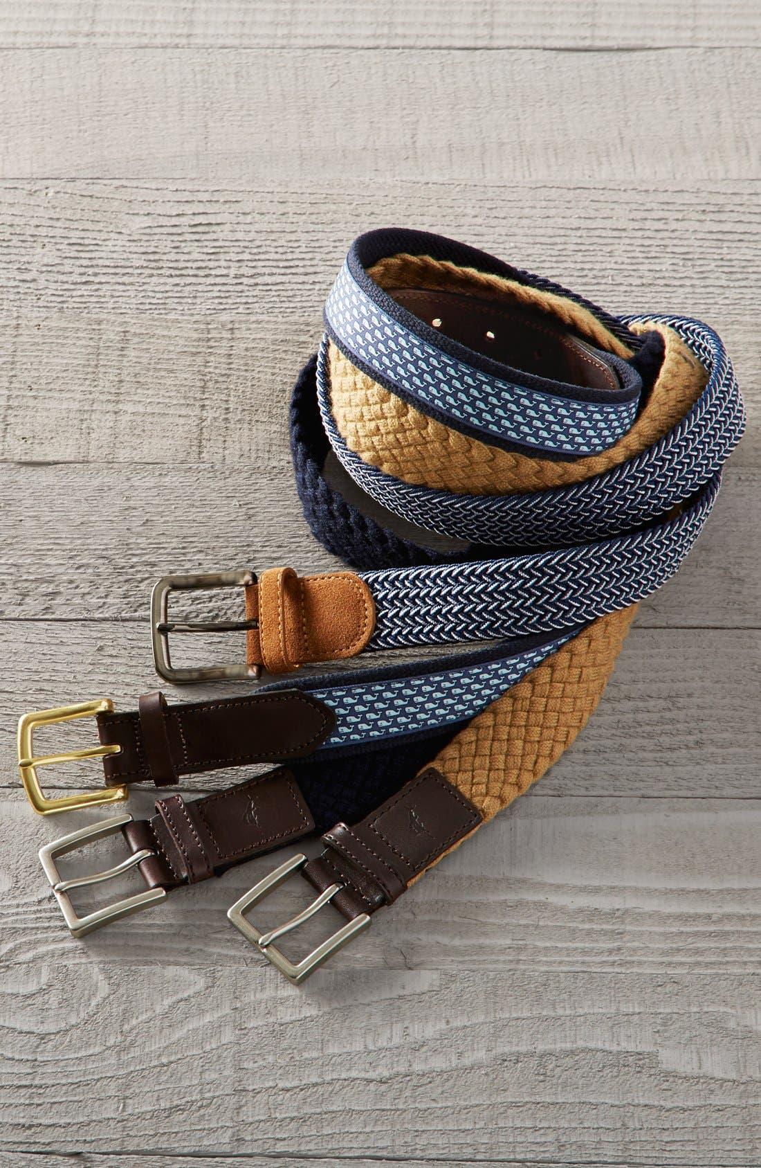 Whale Club Leather & Canvas Belt,                             Alternate thumbnail 3, color,                             NAVY