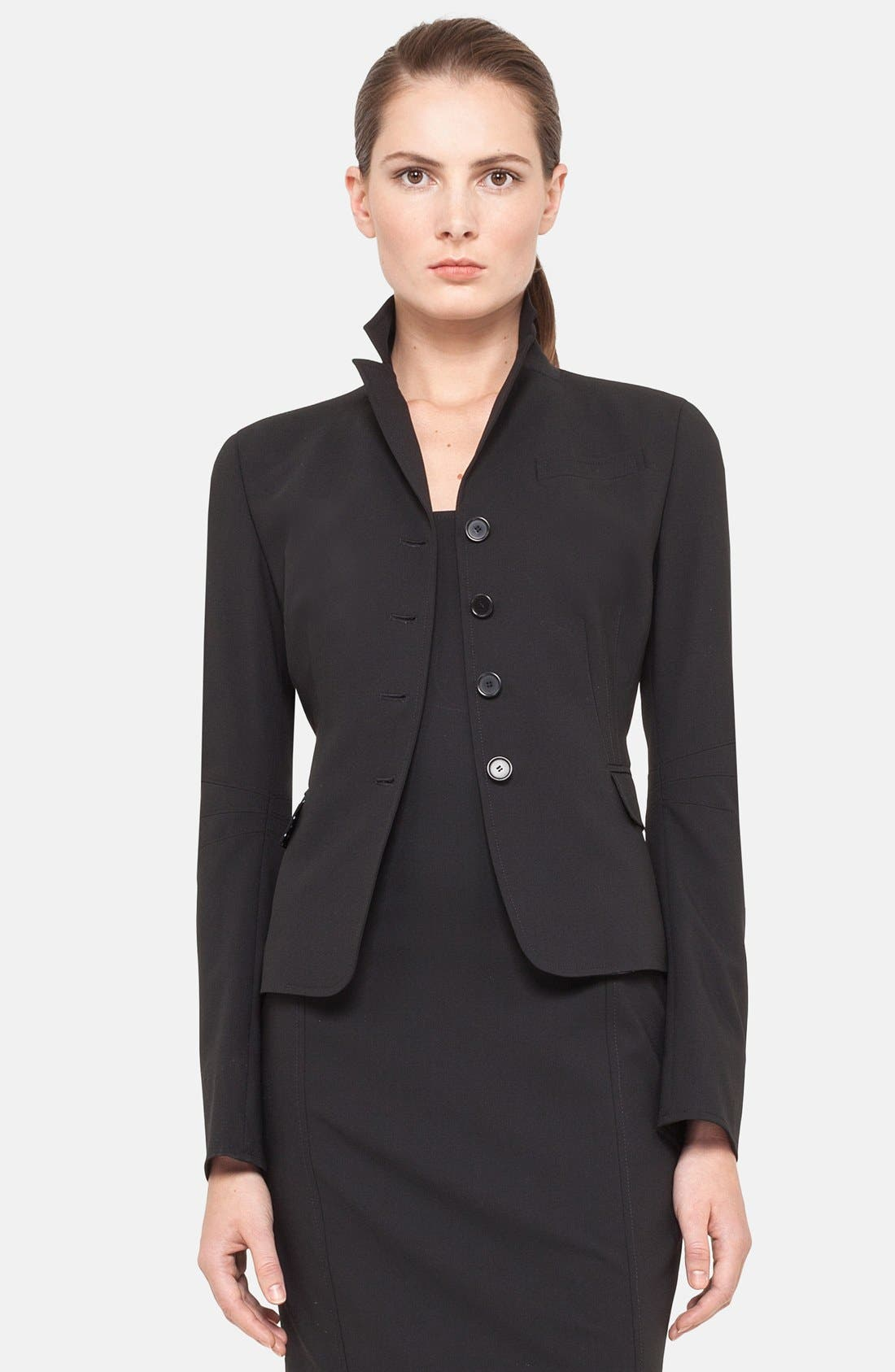 Fitted Wool Jacket,                         Main,                         color, BLACK