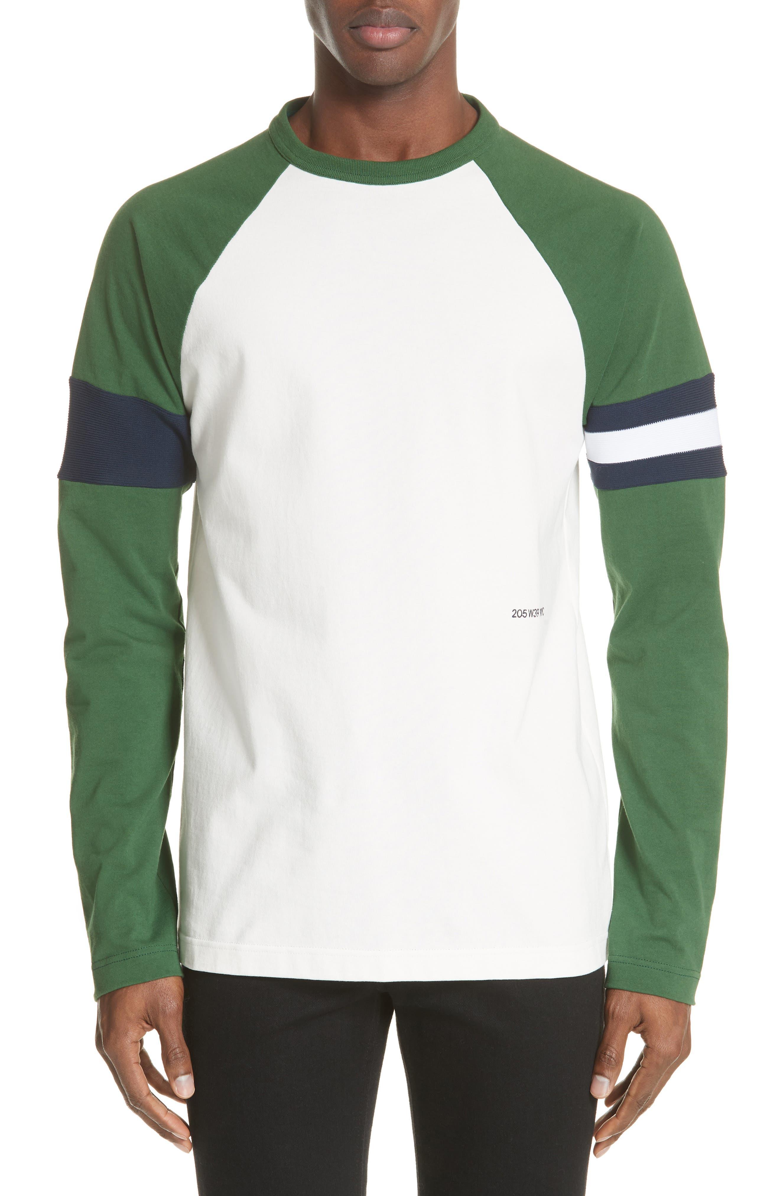 Long Sleeve Varsity T-Shirt,                         Main,                         color, WHITE