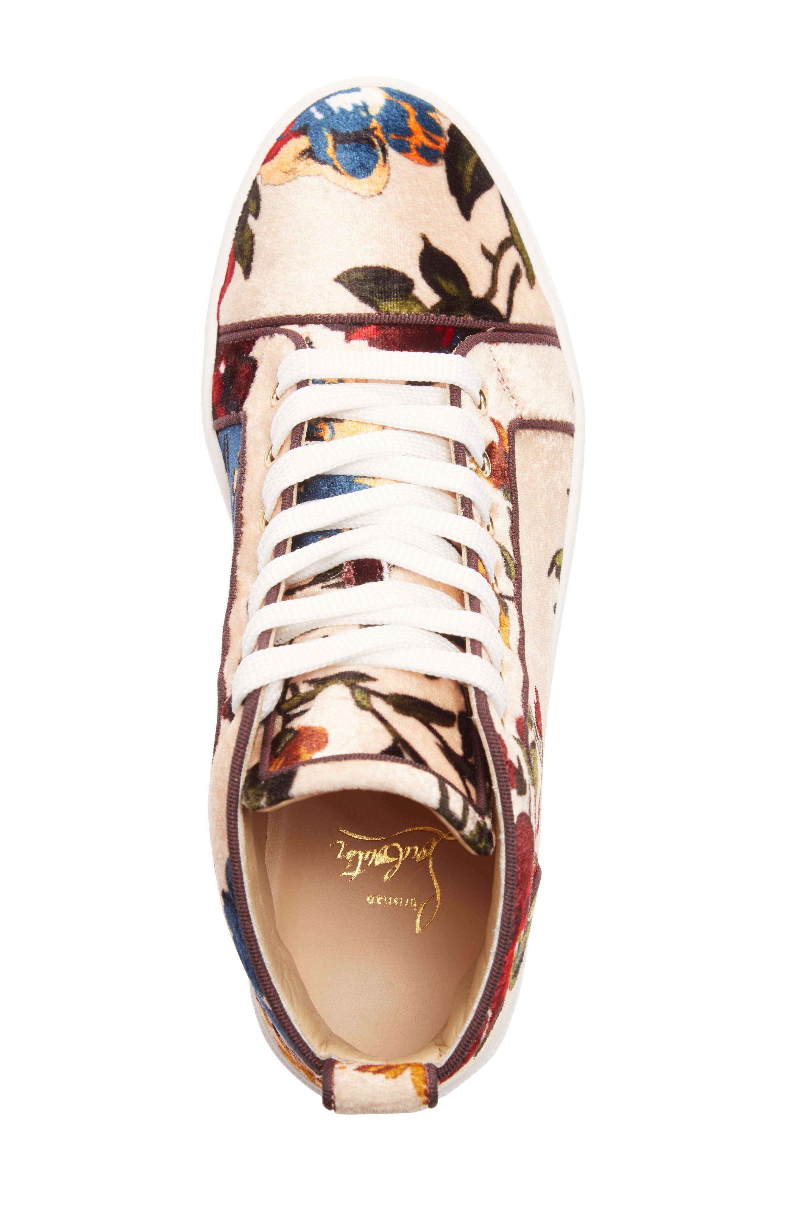 CHRISTIAN LOUBOUTIN,                             Bip Bip Floral Sneaker,                             Alternate thumbnail 4, color,                             250