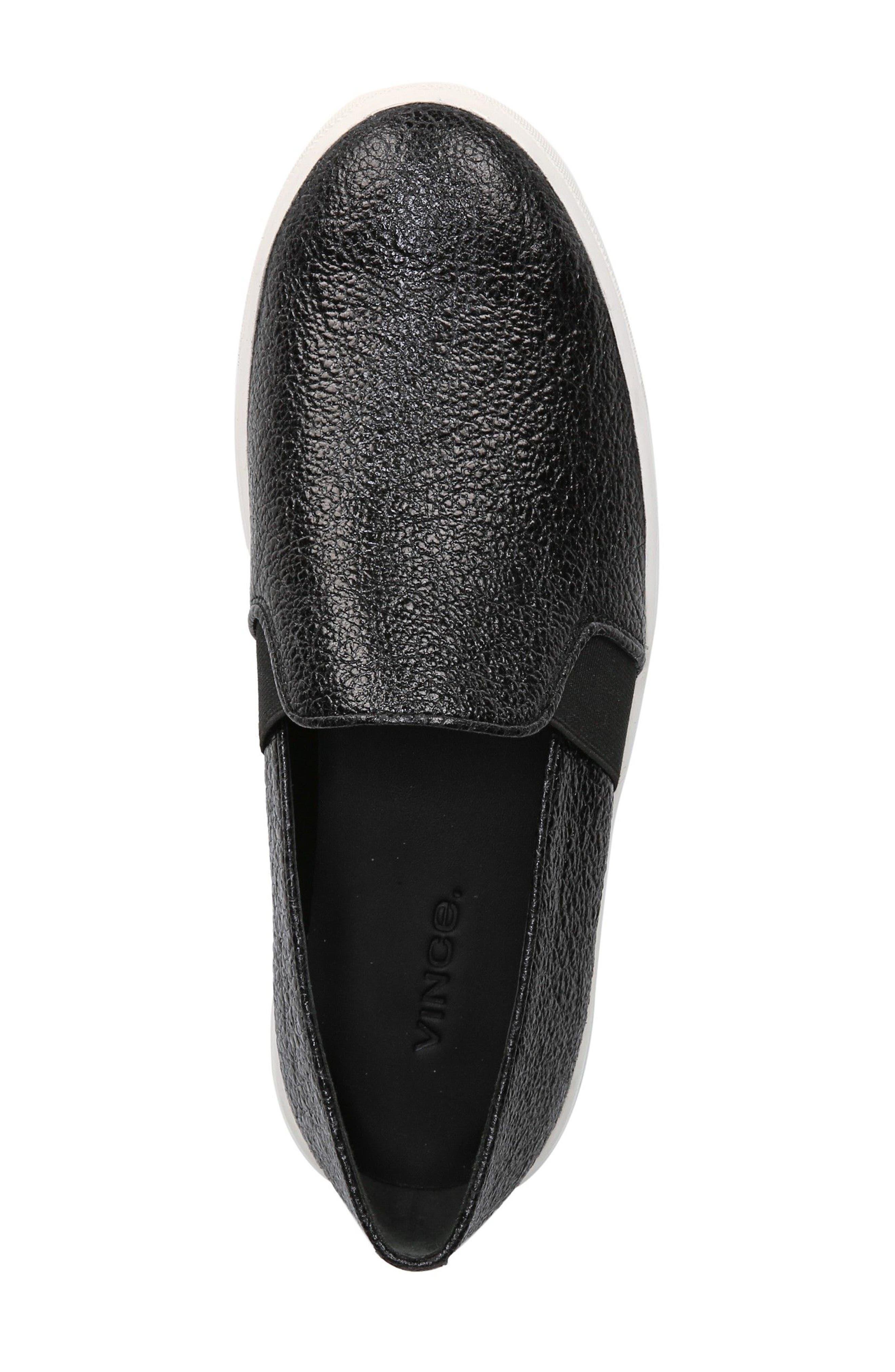 'Blair 12' Leather Slip-On Sneaker,                             Alternate thumbnail 4, color,                             BLACK LEATHER