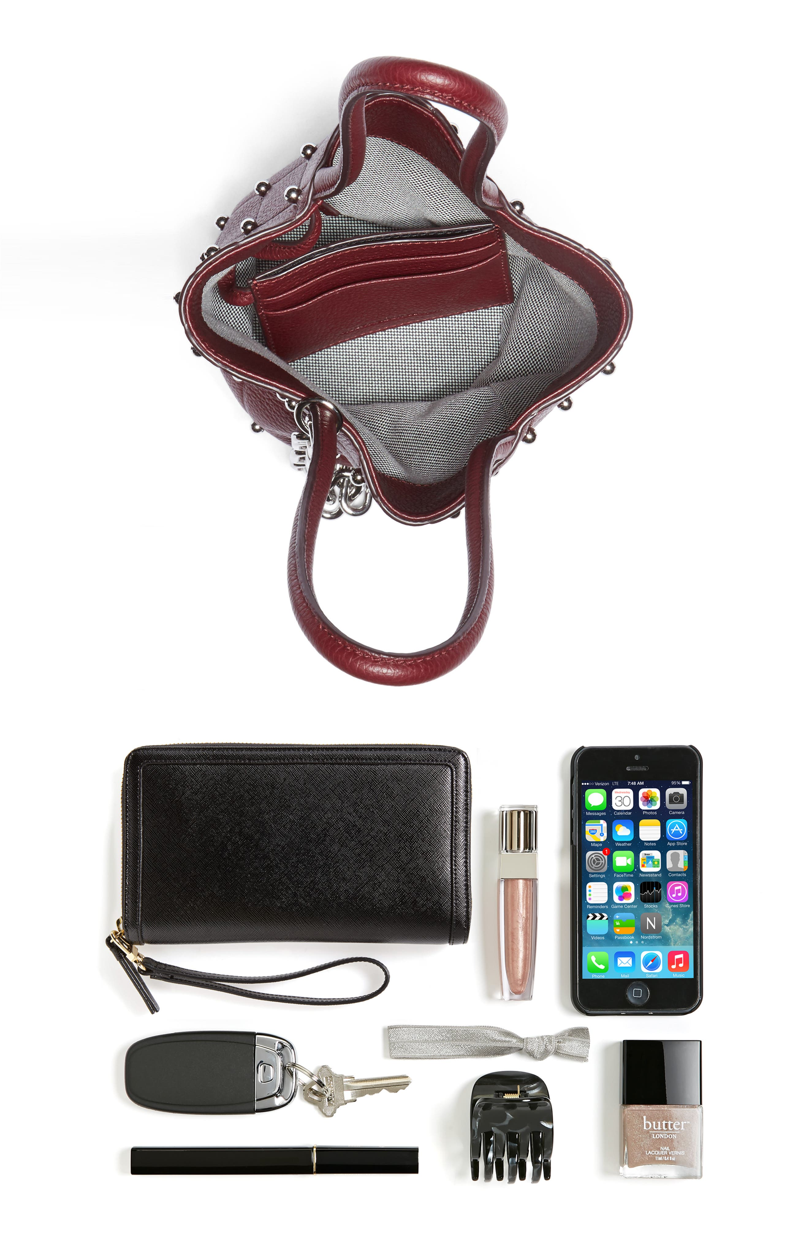 Mini Roxy Studded Leather Bucket Bag,                             Alternate thumbnail 7, color,                             616