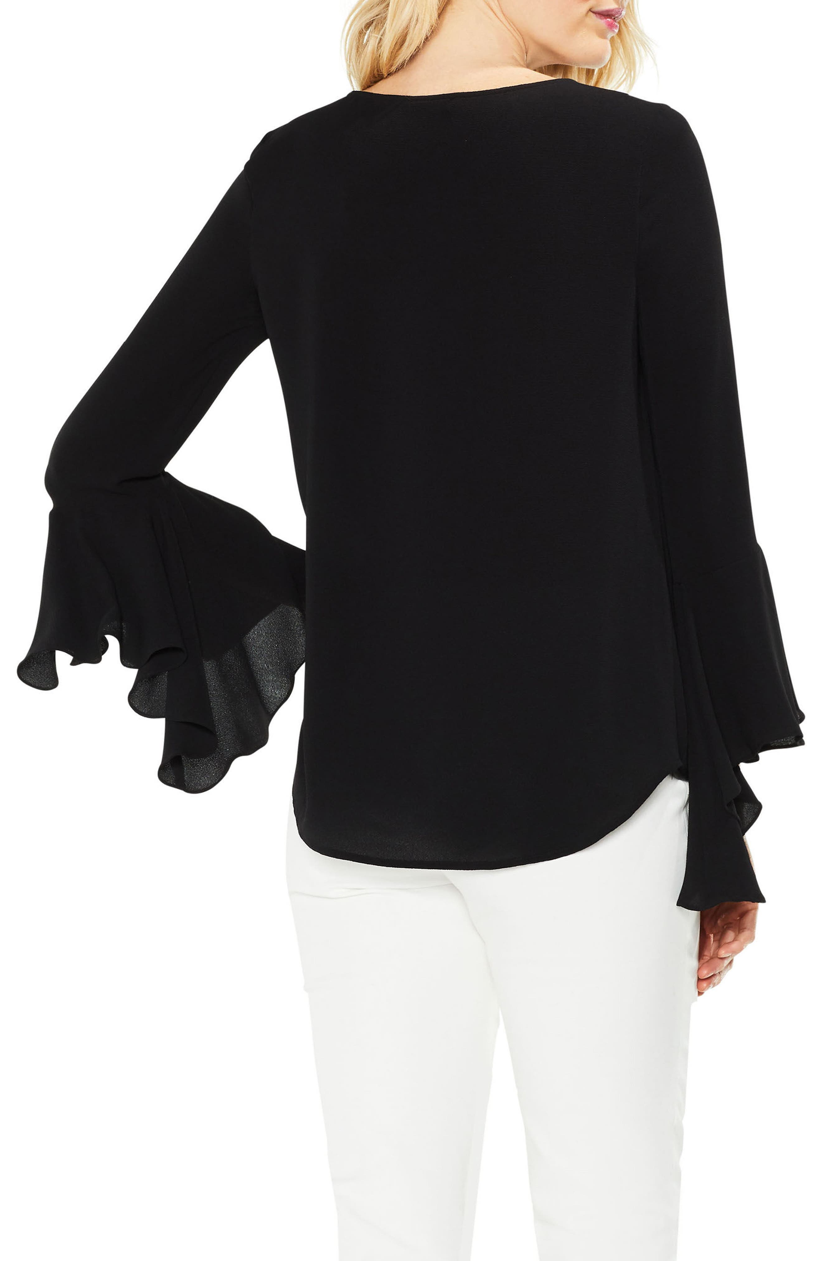 Bell Cuff Foldover Blouse,                             Alternate thumbnail 2, color,                             006