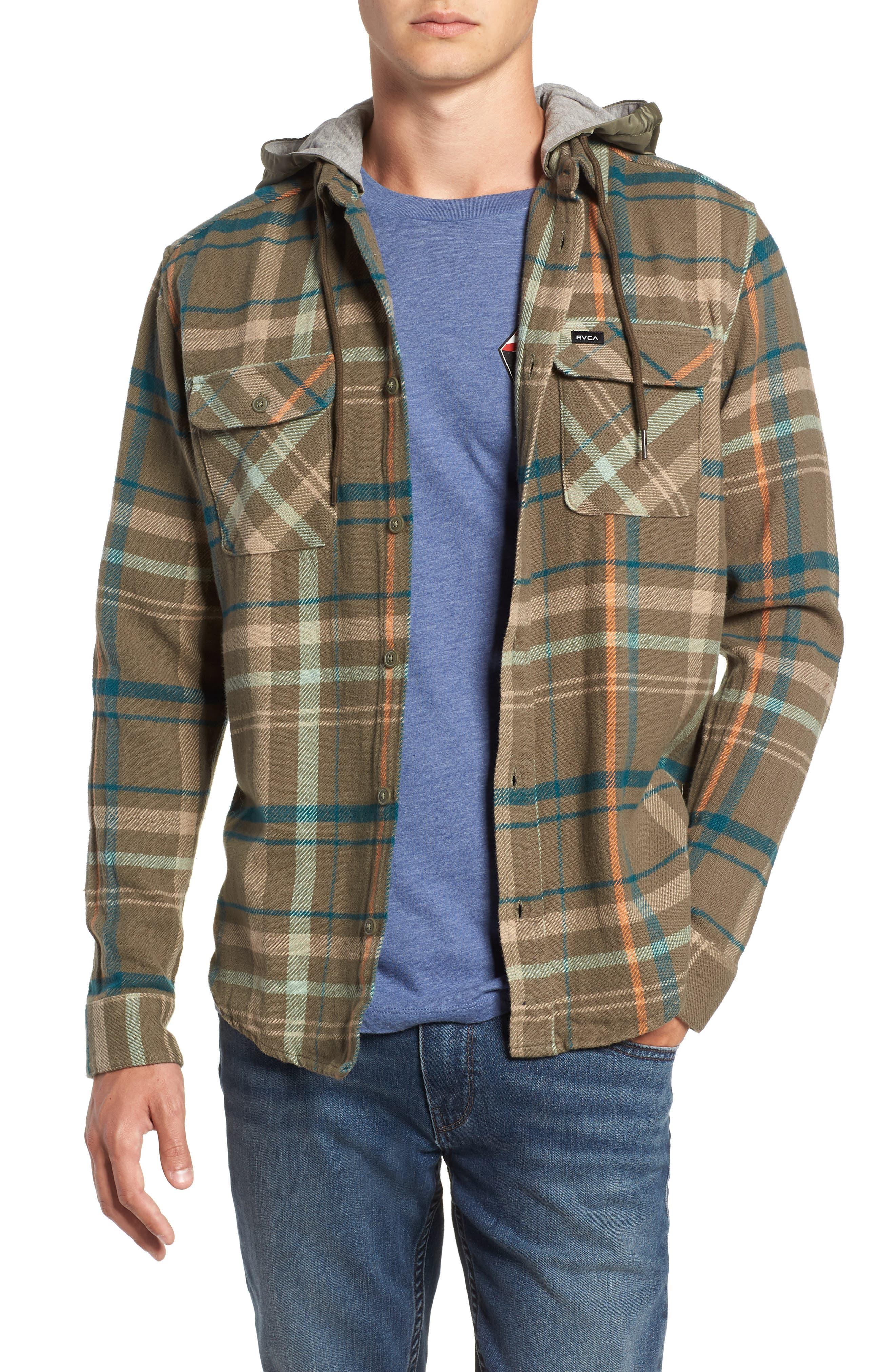 Rvca Essex Hooded Flannel Shirt