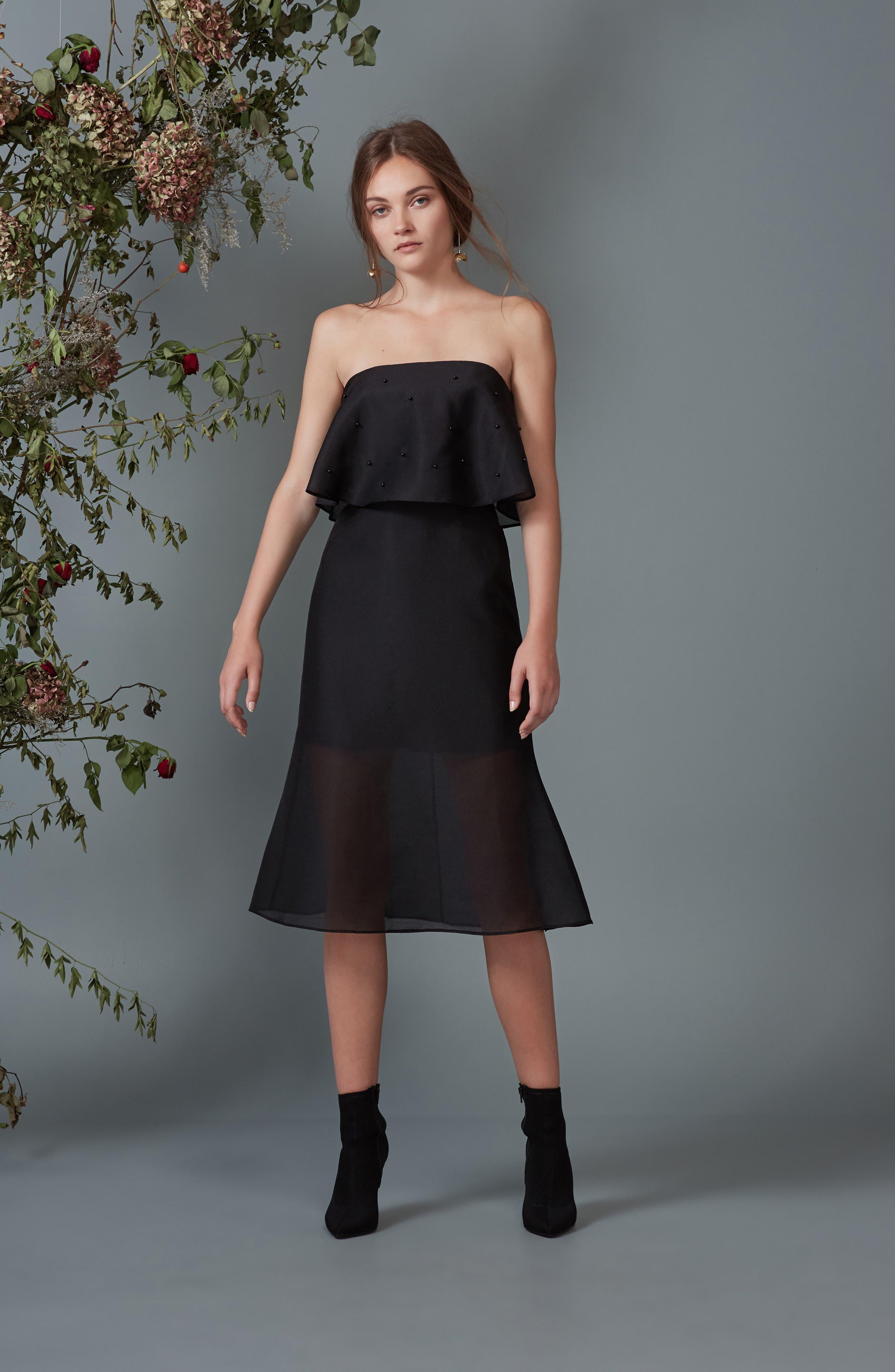 Call Me Strapless Dress,                             Alternate thumbnail 9, color,                             001