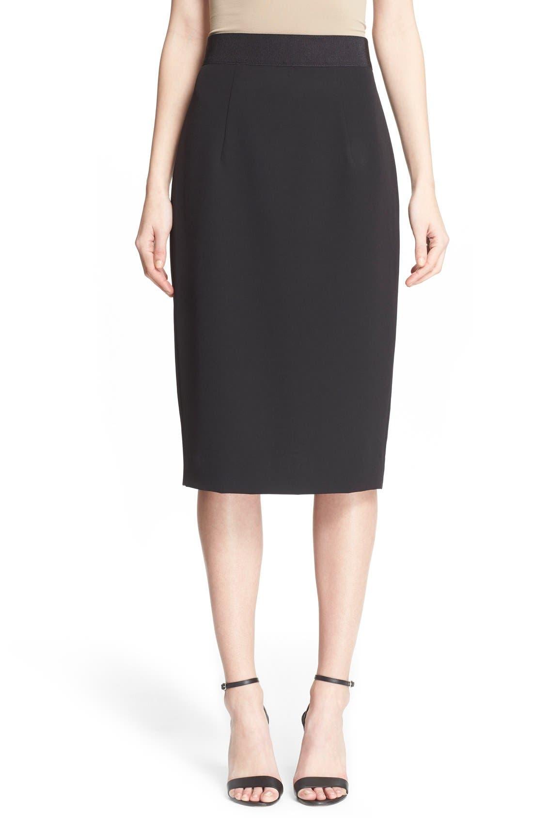 Italian Cady Pencil Skirt,                             Main thumbnail 1, color,                             001