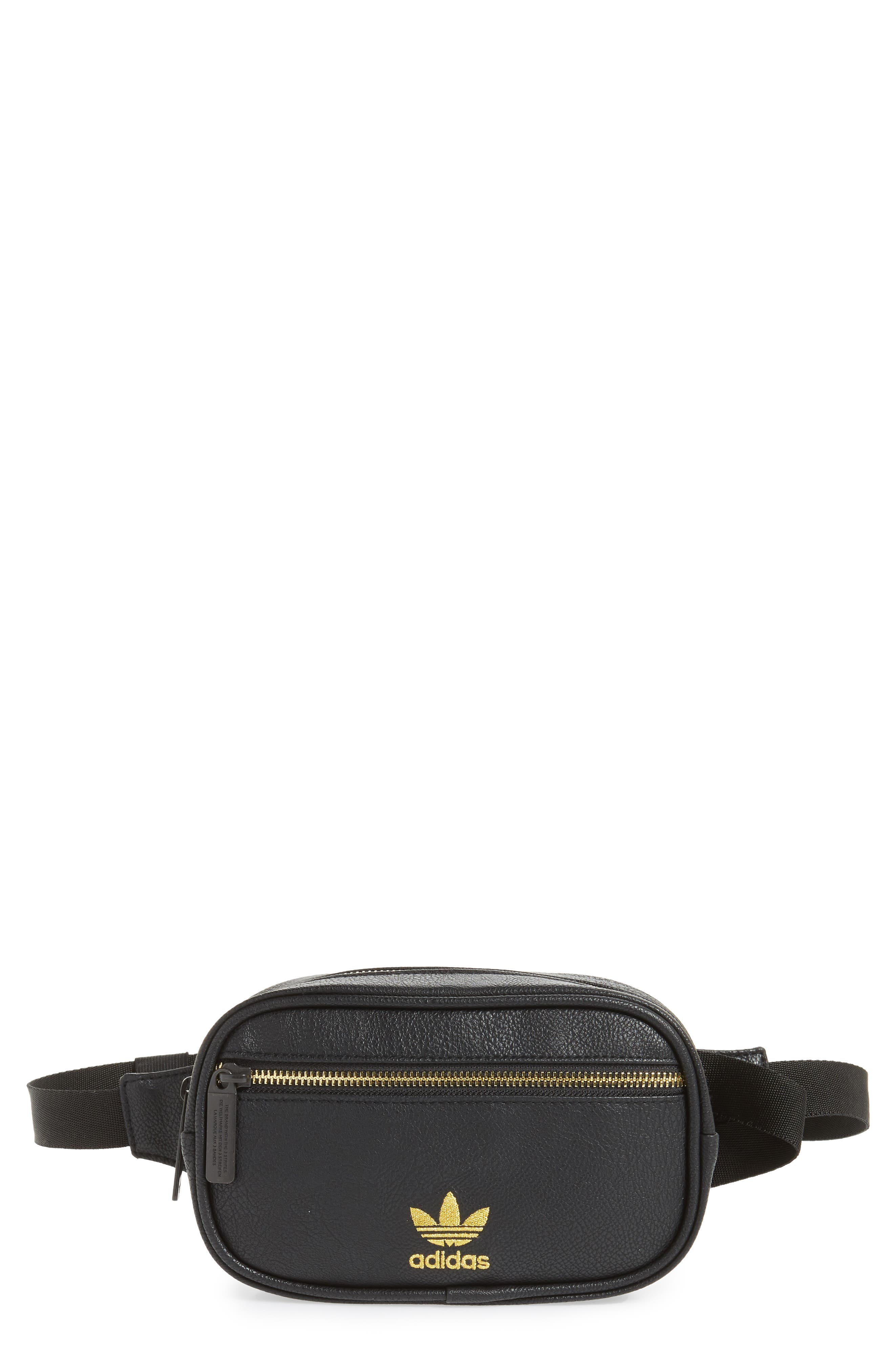 adidas Ori Faux Leather Fanny Pack,                         Main,                         color, 001