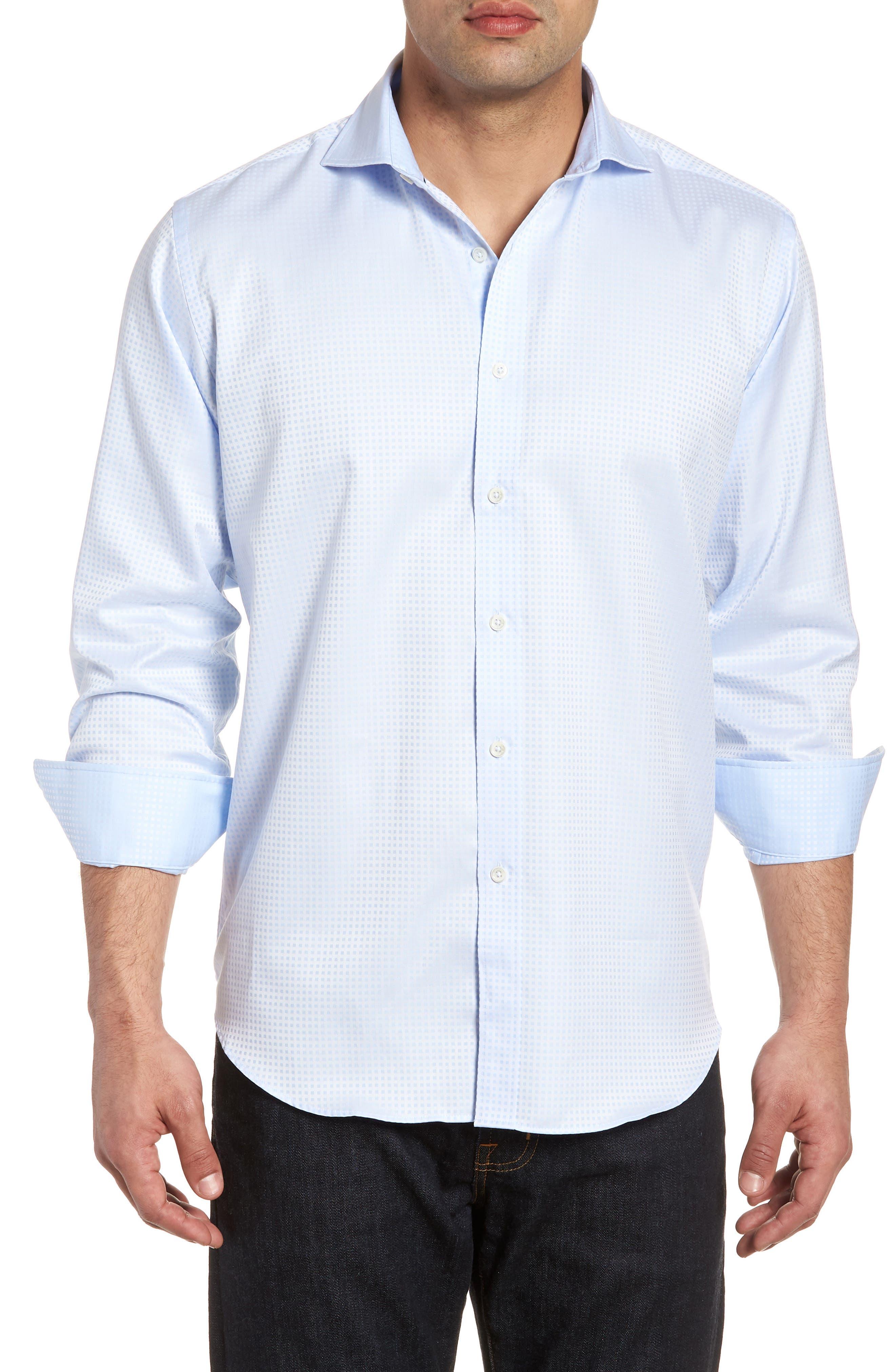 Classic Fit Pin Check Jacquard Sport Shirt,                         Main,                         color, 459
