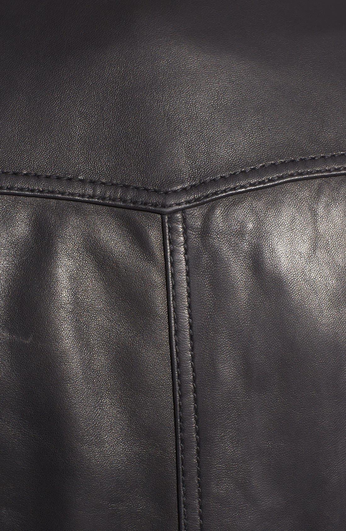 Front Zip Leather Jacket,                             Alternate thumbnail 5, color,                             001