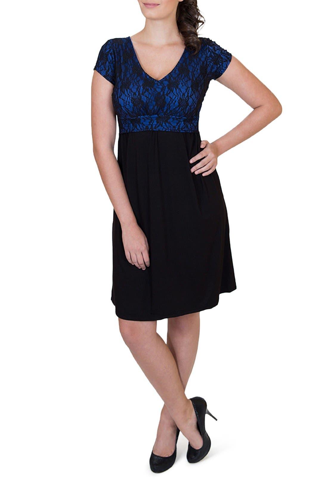 'Camila' Maternity/Nursing Dress,                             Main thumbnail 1, color,                             ROYAL BLUE/ BLACK