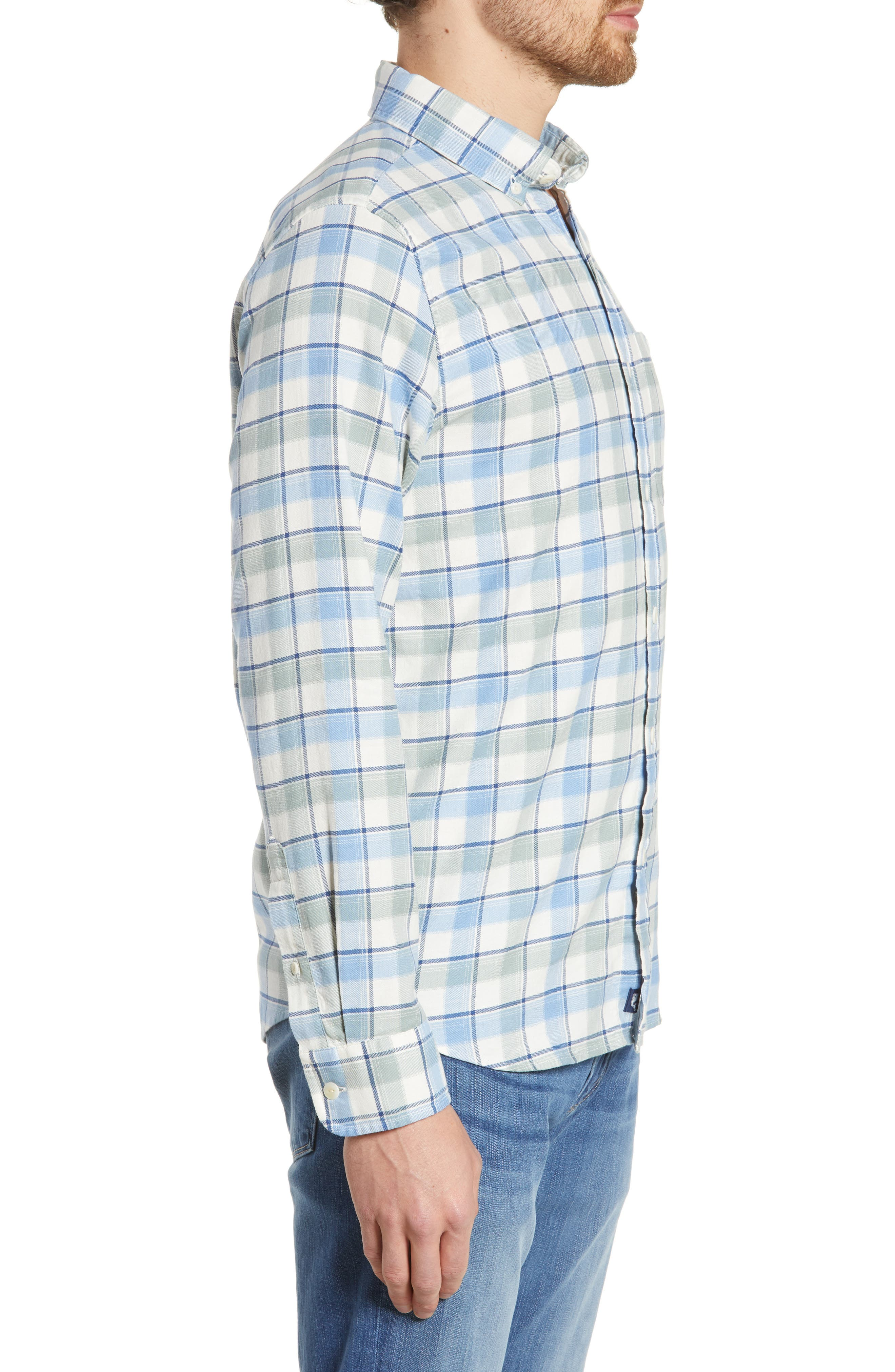 VINEYARD VINES,                             Bayside Slim Fit Plaid Sport Shirt,                             Alternate thumbnail 4, color,                             LIGHT SAGE