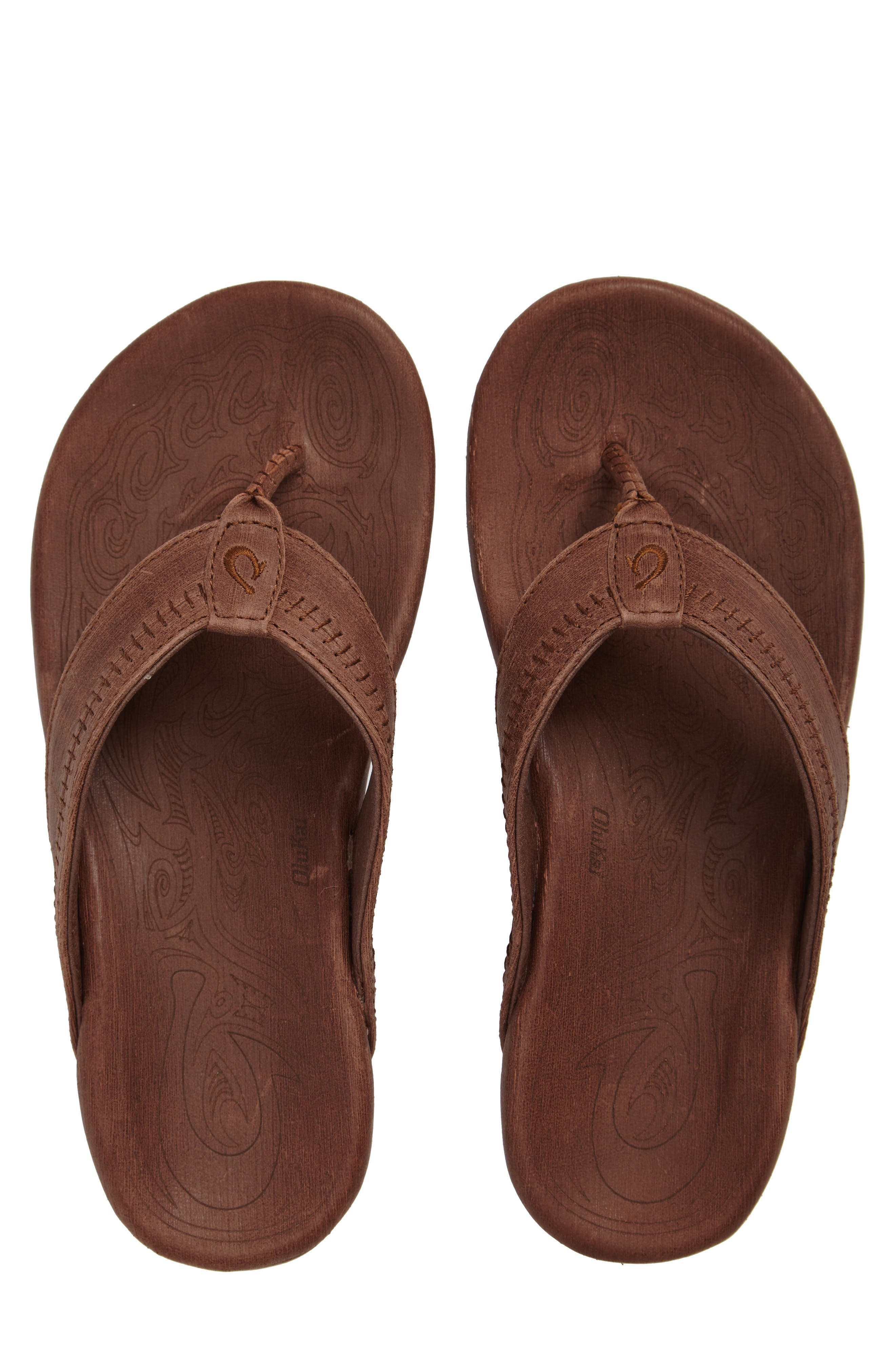'Hiapo' Flip Flop,                             Alternate thumbnail 4, color,                             TOFFEE/ TOFFEE LEATHER