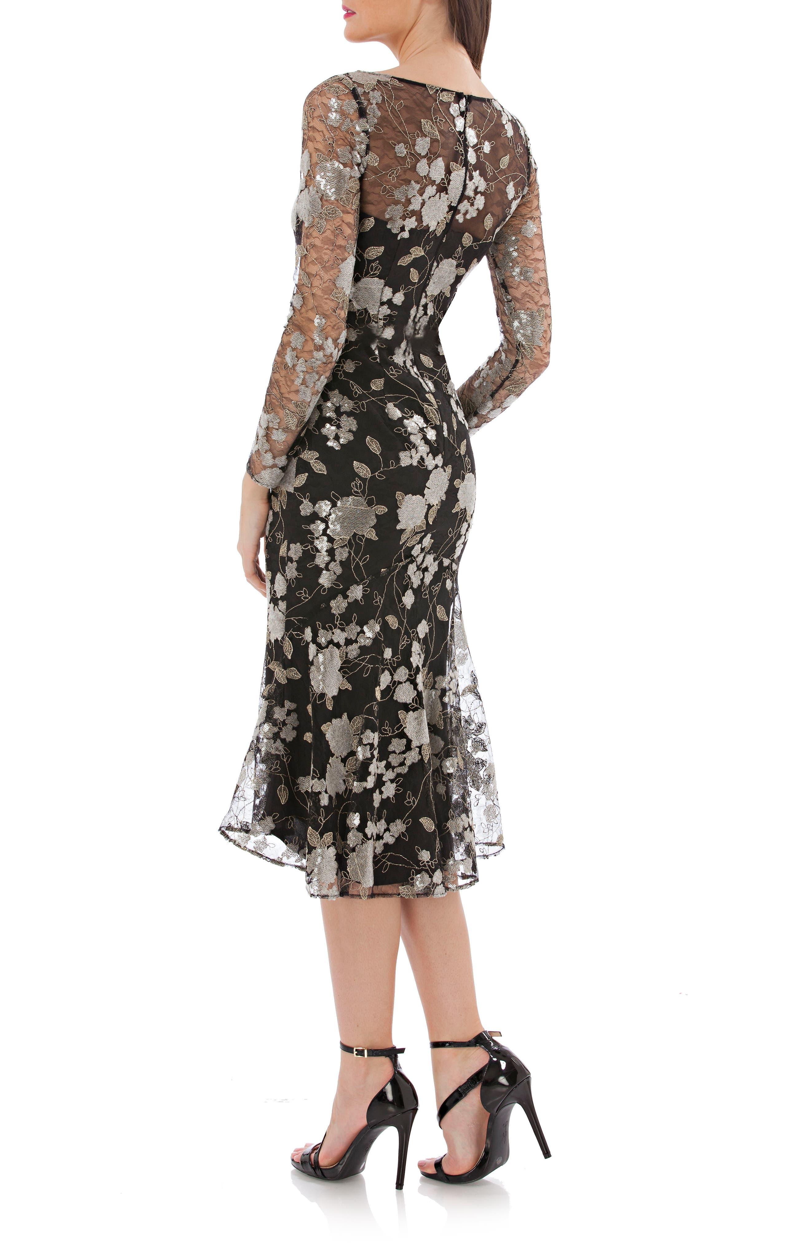 Sequin Mesh Midi Dress,                             Alternate thumbnail 2, color,                             008