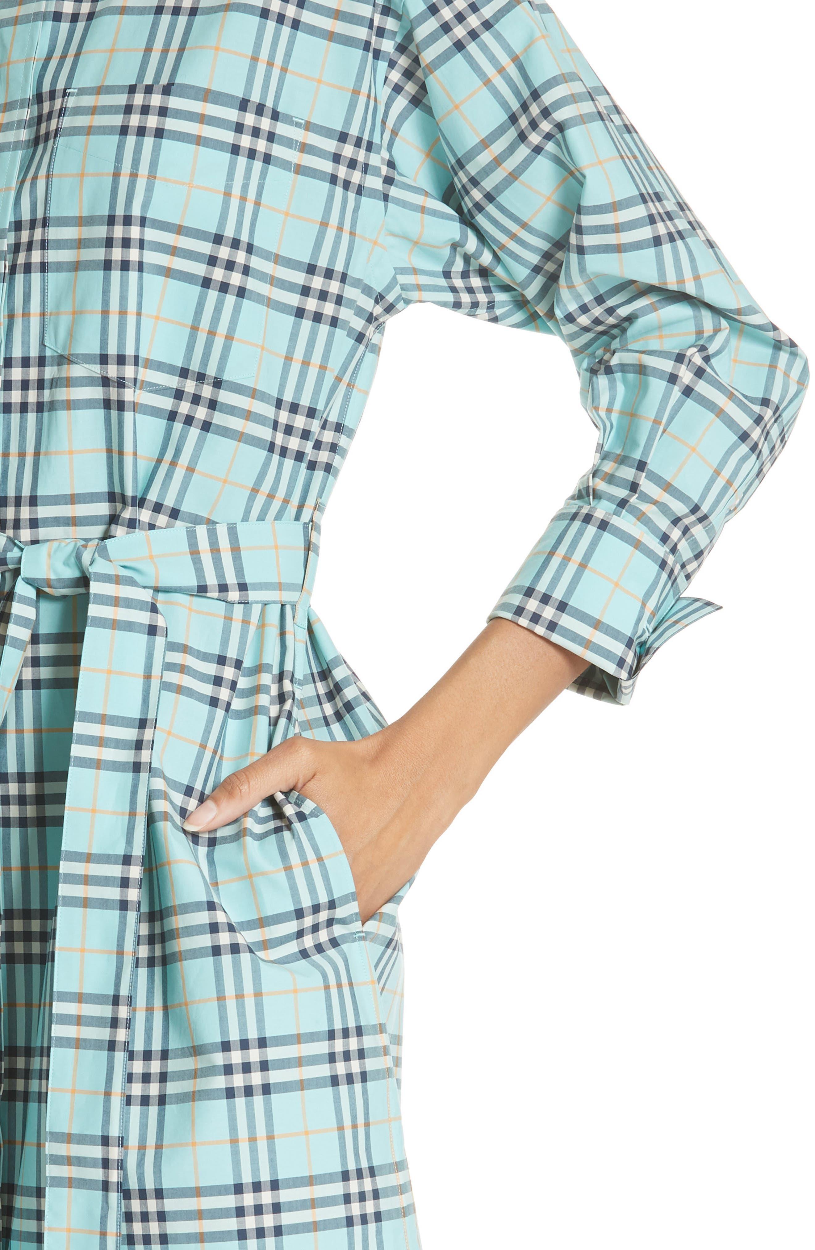 Isotto Tartan Shirtdress,                             Alternate thumbnail 4, color,                             BRIGHT AQUA