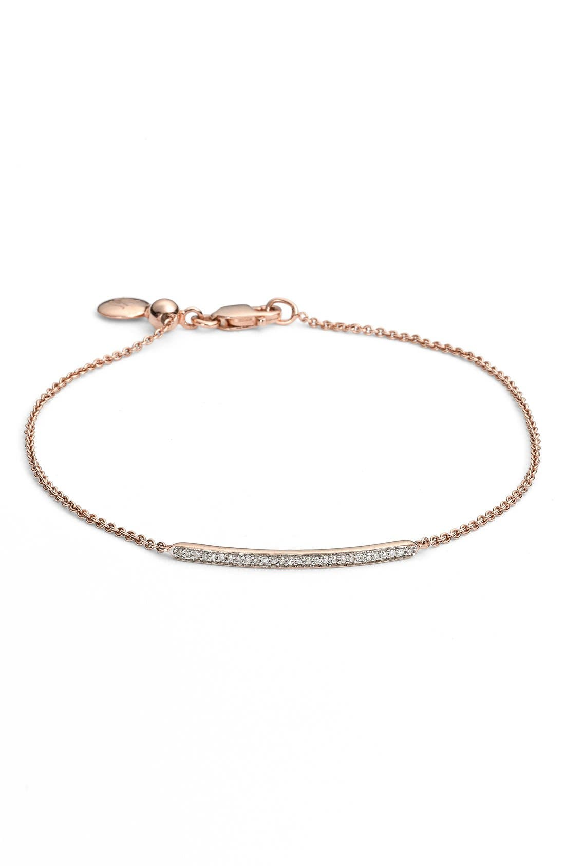 'Skinny' Diamond Bracelet,                             Main thumbnail 1, color,                             ROSE GOLD