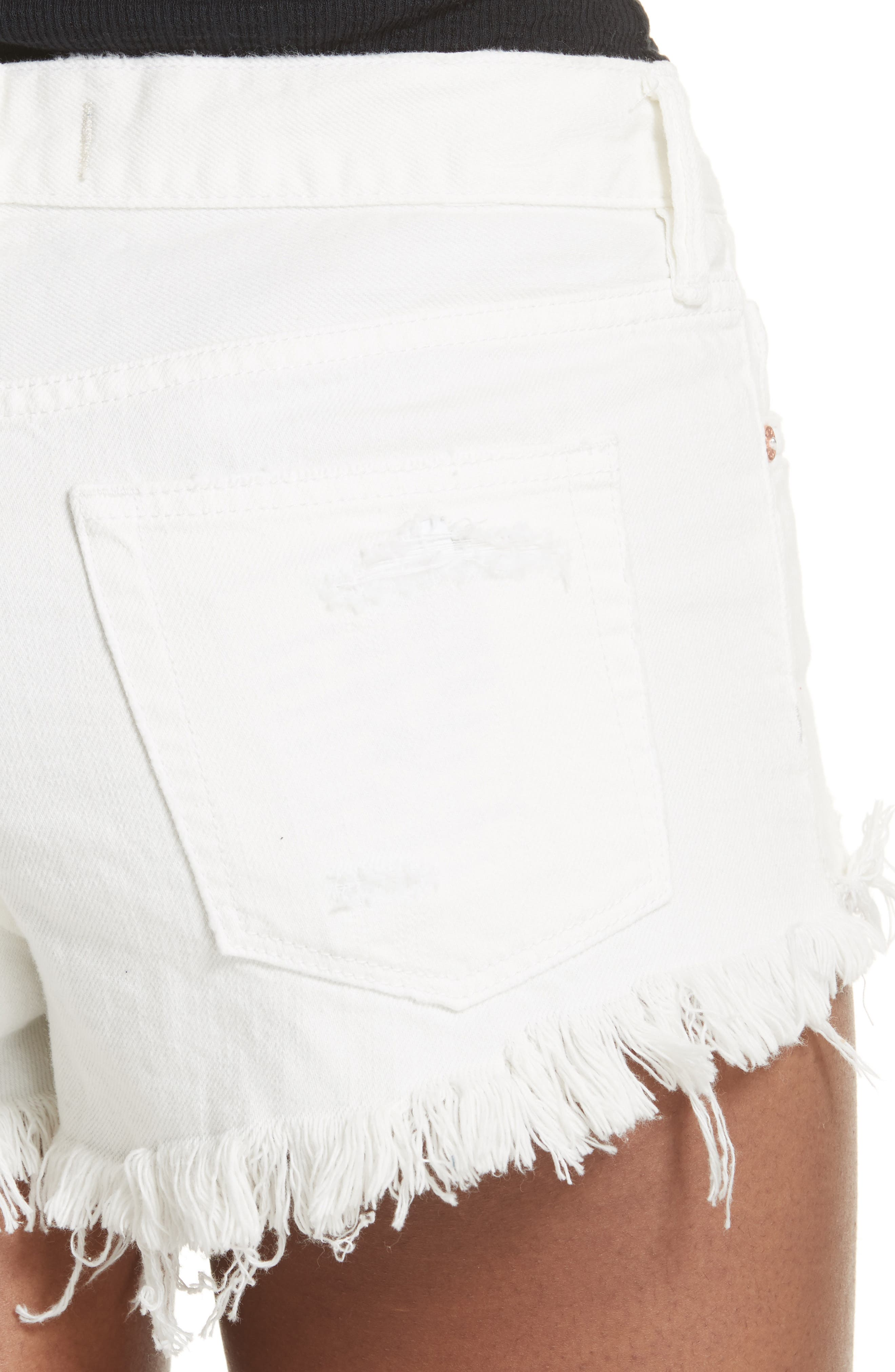 We the Free by Free People Loving Good Vibrations Cutoff Denim Shorts,                             Alternate thumbnail 4, color,                             WHITE